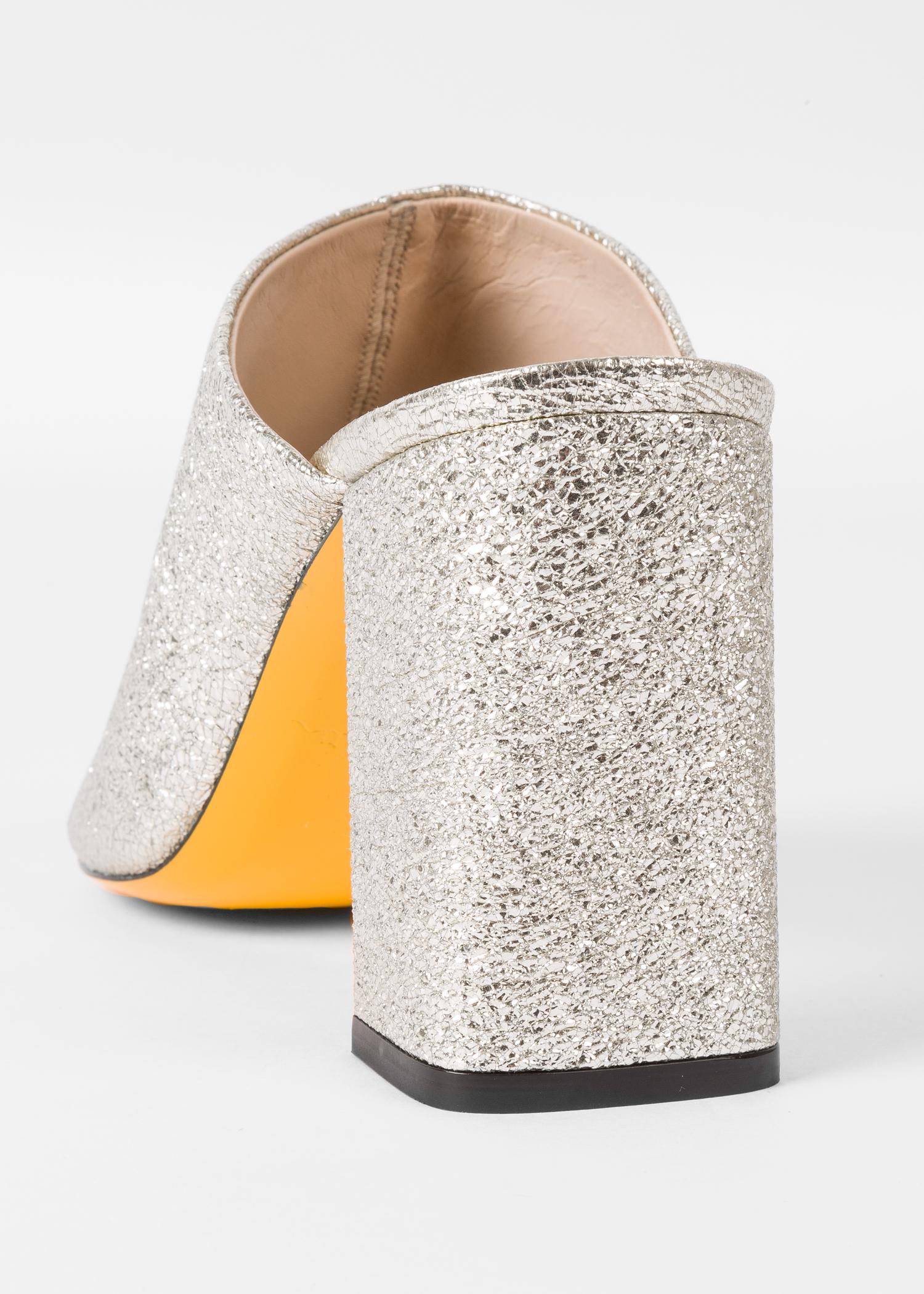 98e74ebbc484 Heel view - Women's Silver Glitter Heeled Mules Paul Smith