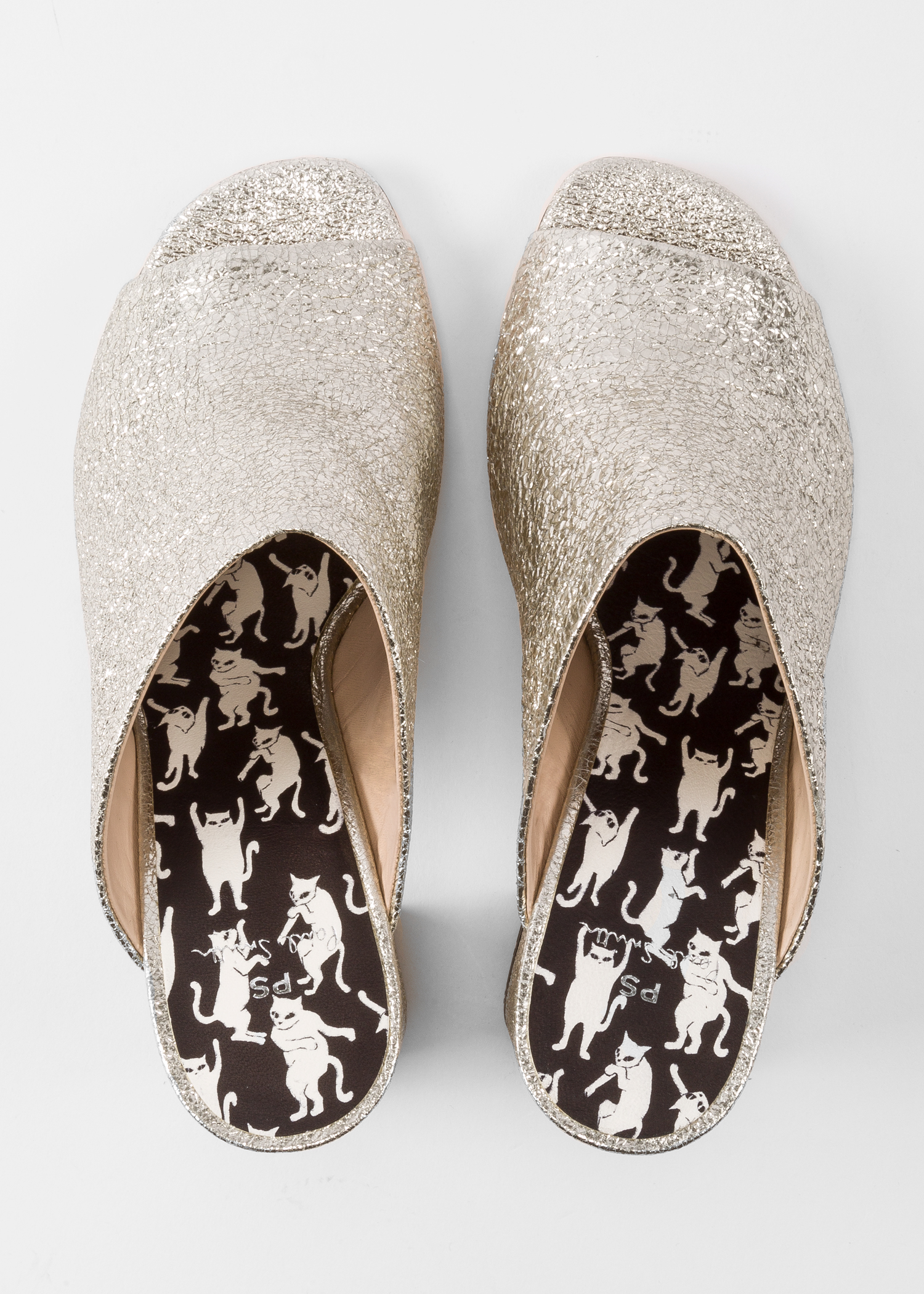 5139575decb5 Front view - Women's Silver Glitter Heeled Mules Paul Smith
