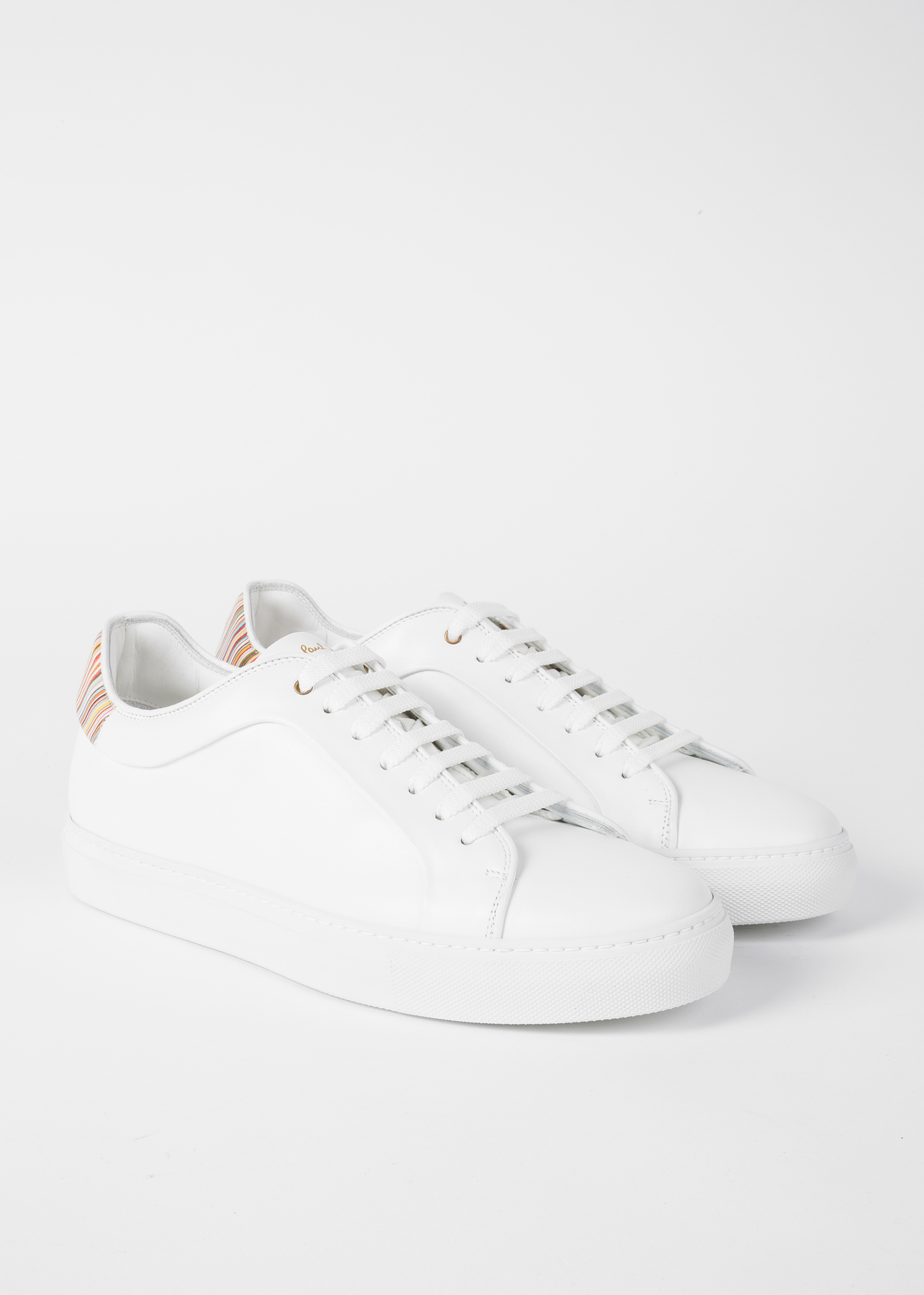 Men S White Leather Basso Sneakers With Signature Stripe
