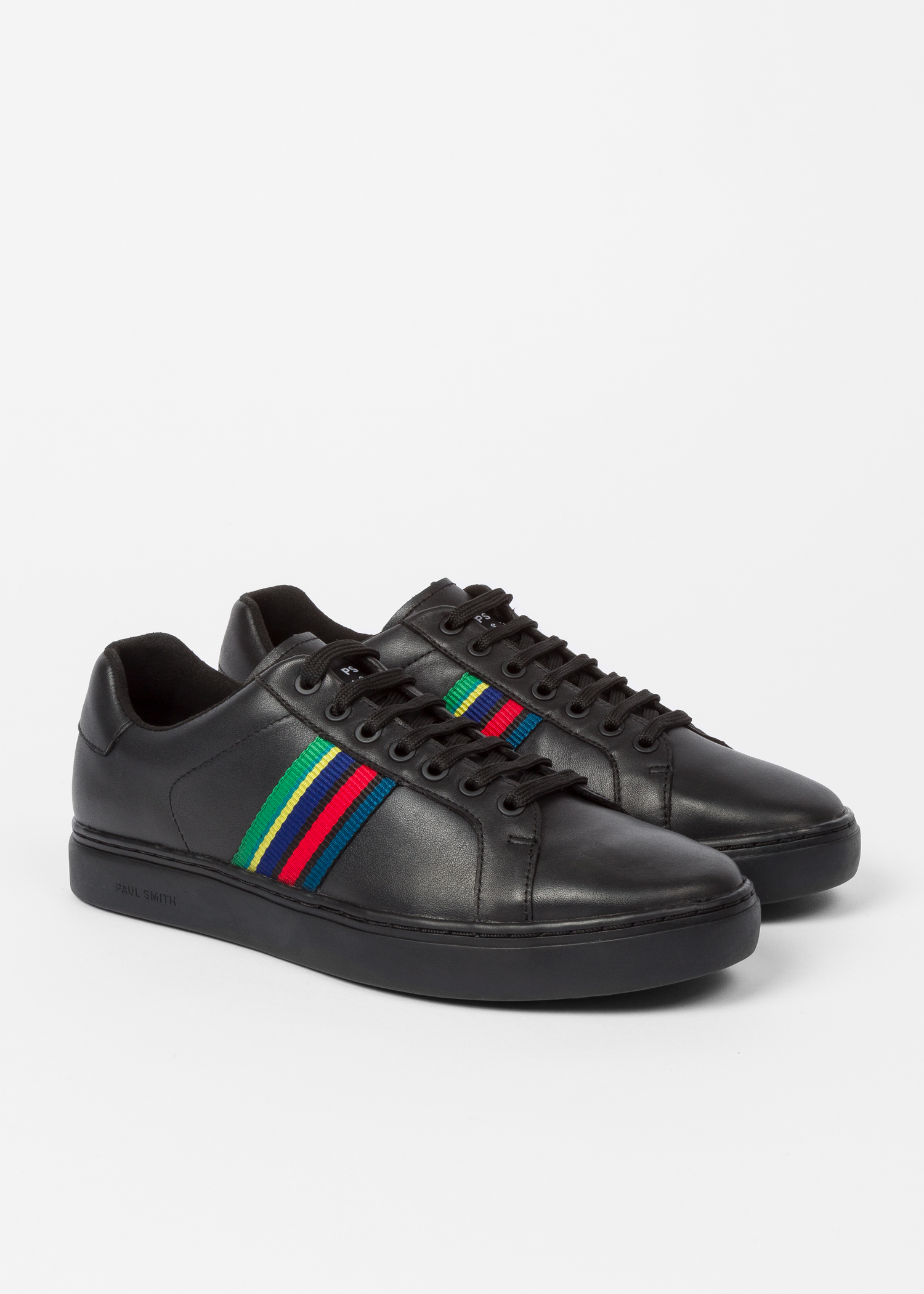 Men S Black Calf Leather Lapin Trainers Paul Smith