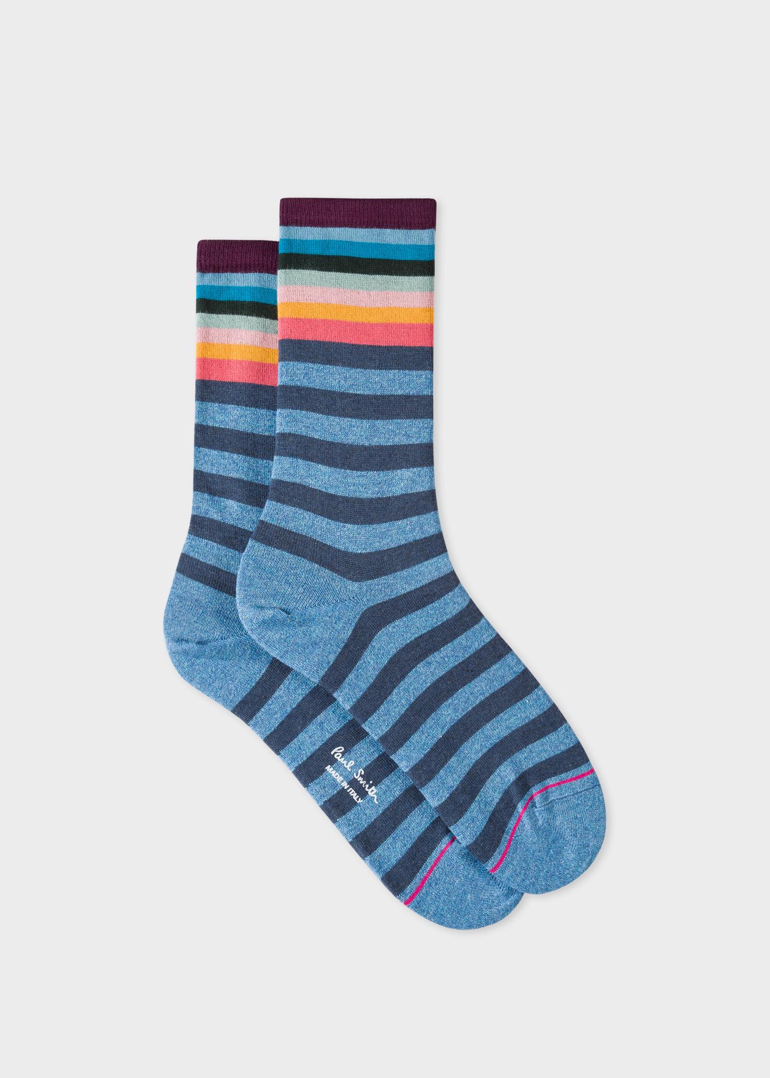e37a2d7e8 Women's Blue And Navy Stripe Socks With 'Artist Stripe' Cuff