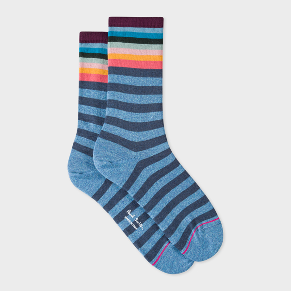Women's Blue And Navy Stripe Socks With 'Artist Stripe' Cuff