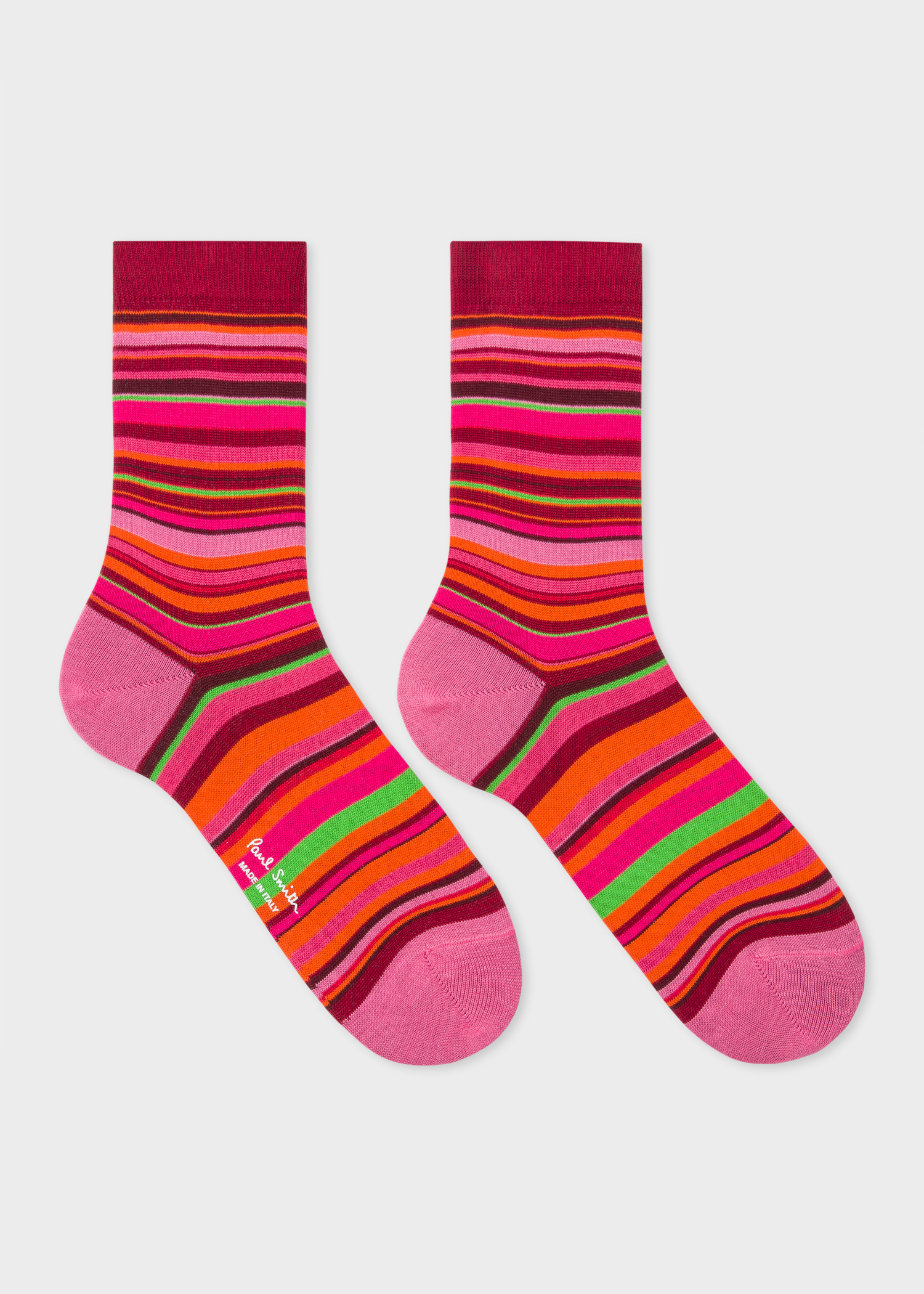 e1e7706f585 Pair View - Women s Burgundy Socks With Multi-Coloured Stripes Paul Smith