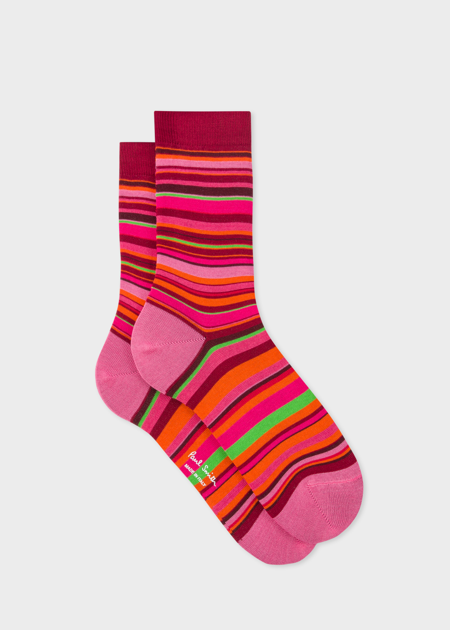 f69fb562389 Side View - Women s Burgundy Socks With Multi-Coloured Stripes Paul Smith