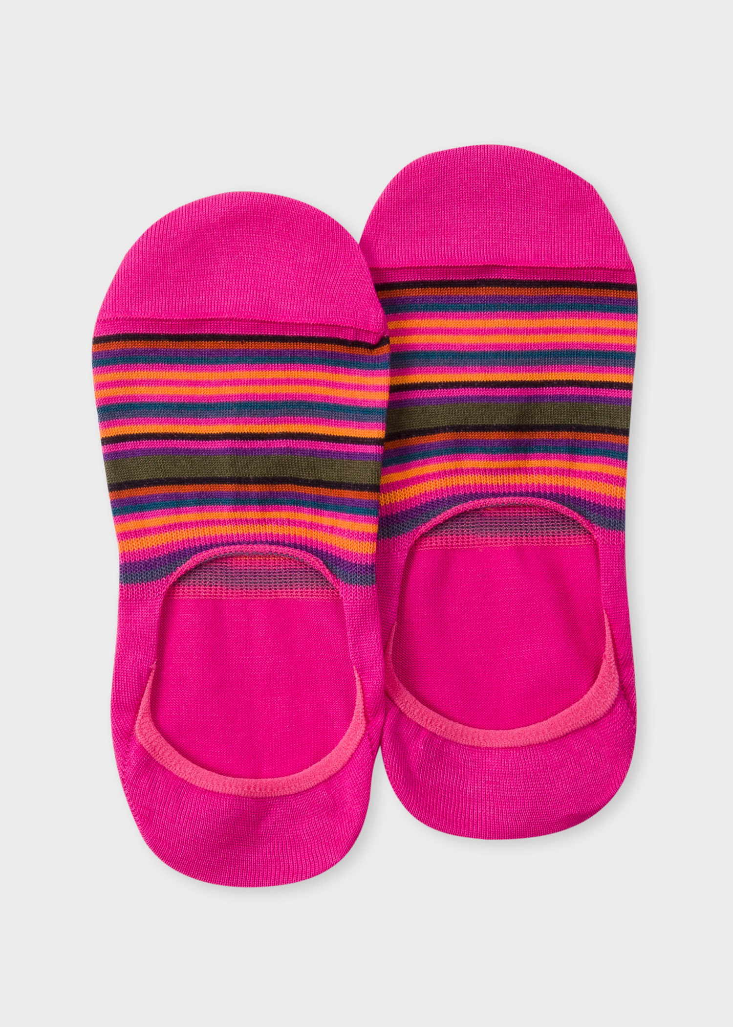 39d9e3622be Front view - Women s Fuchsia Multi-Colour Striped Loafer Socks Paul Smith