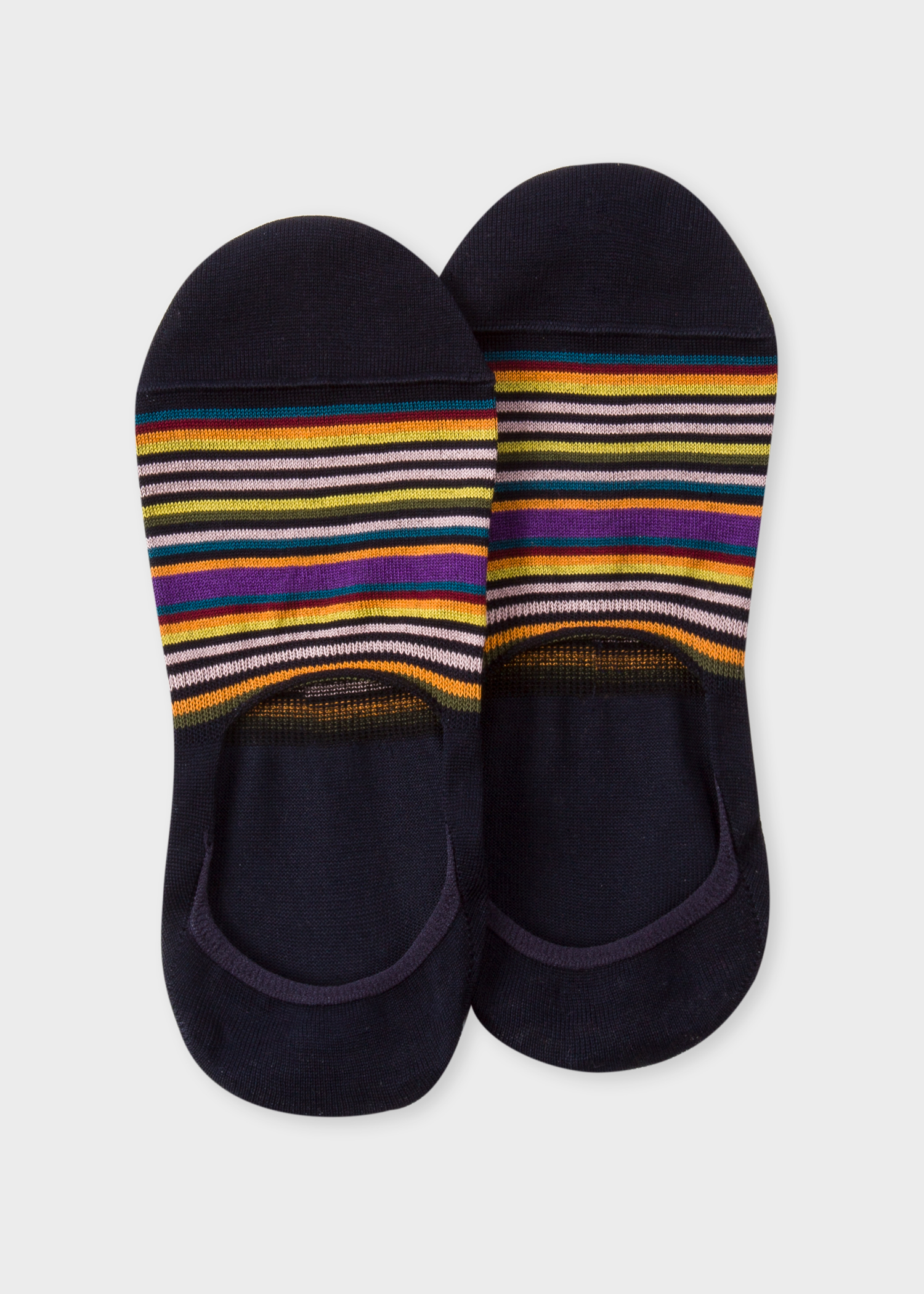 c26f03ebb20 Front view - Women s Dark Navy Multi-Colour Striped Loafer Socks Paul Smith