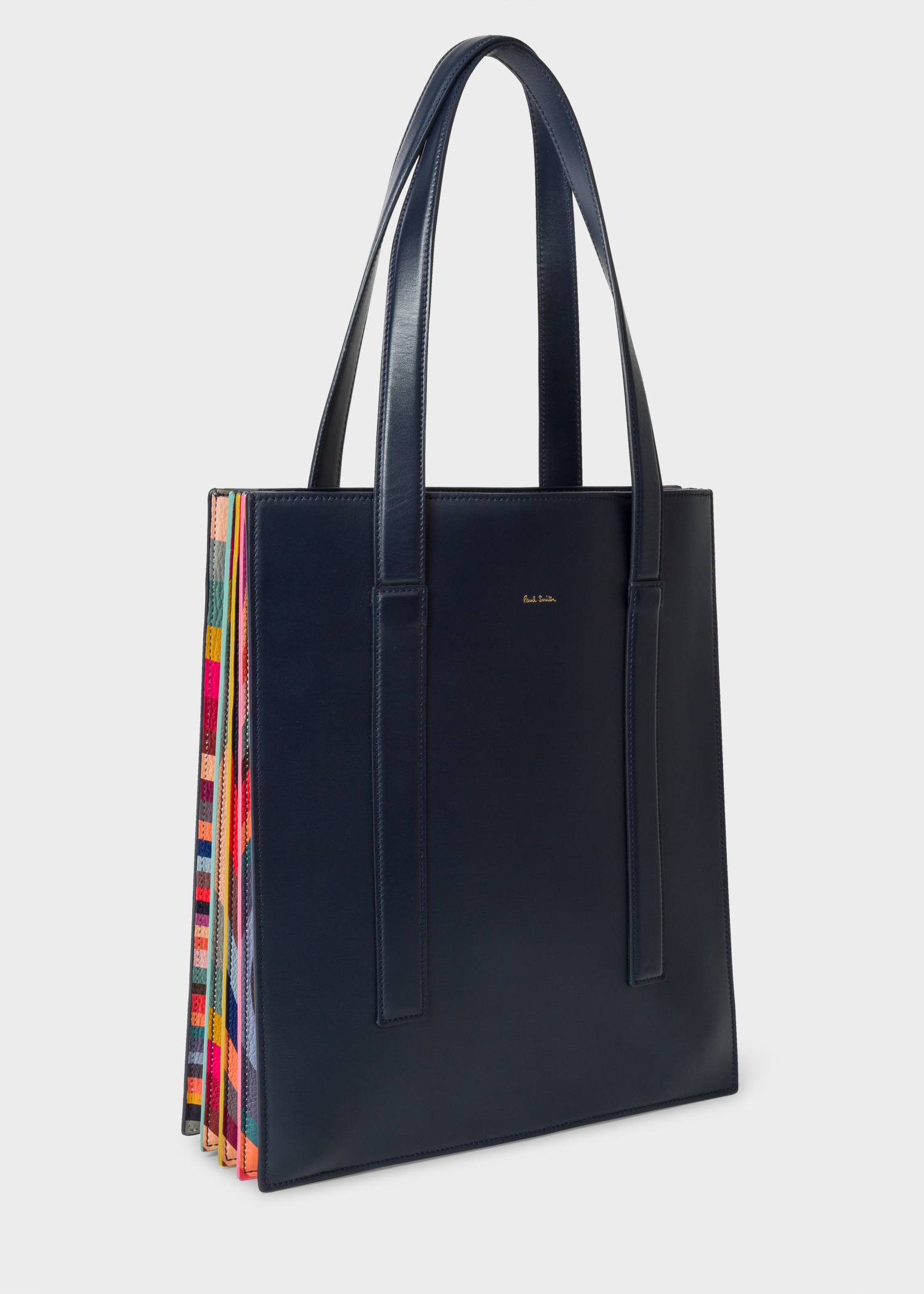 Women s Navy  Concertina Swirl  Leather Tote Bag - Paul Smith US f0ab31c55d100