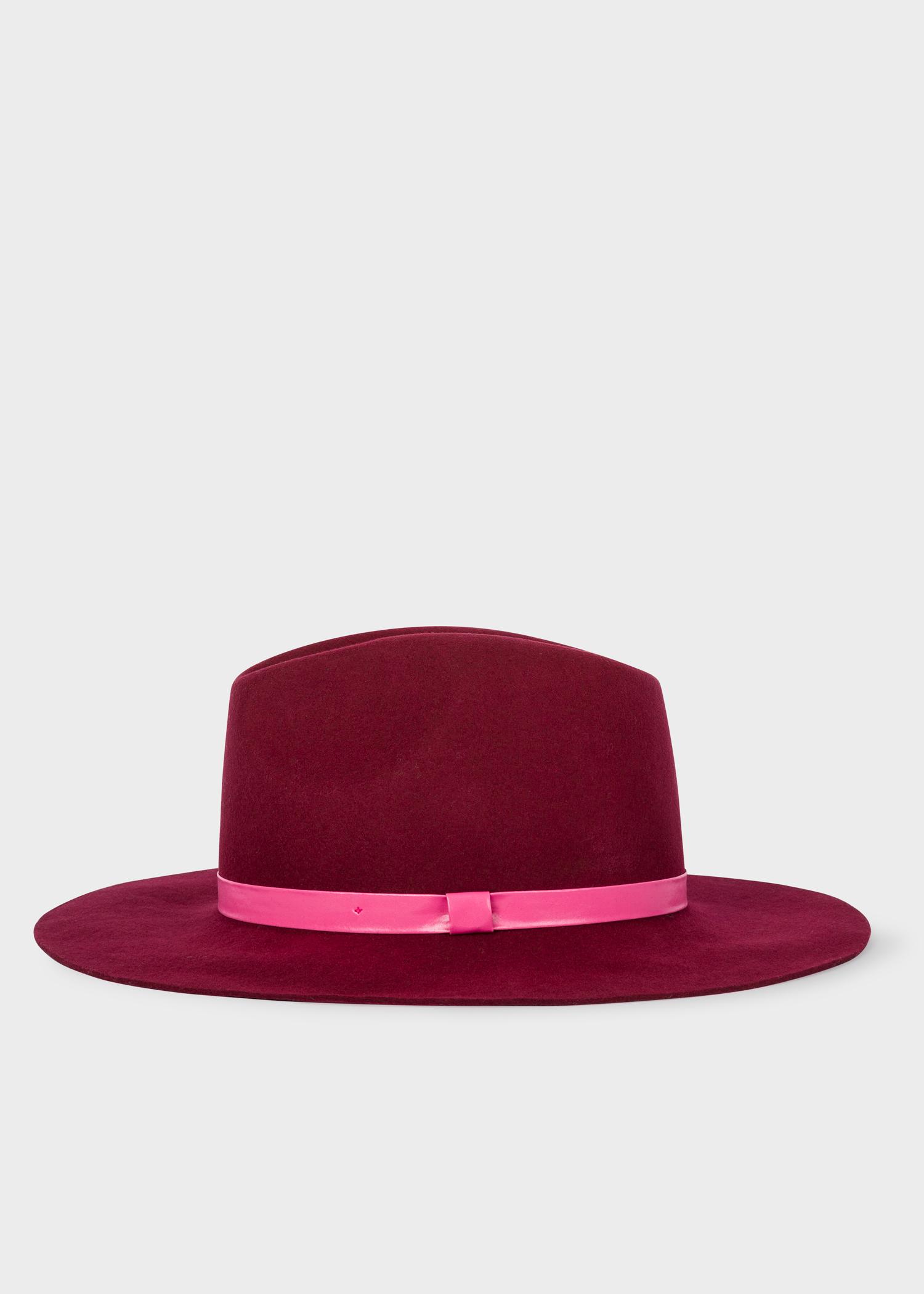 Women s Burgundy Wool Fedora Hat With  Swirl  Lining - Paul Smith Europe d373c7d96f2