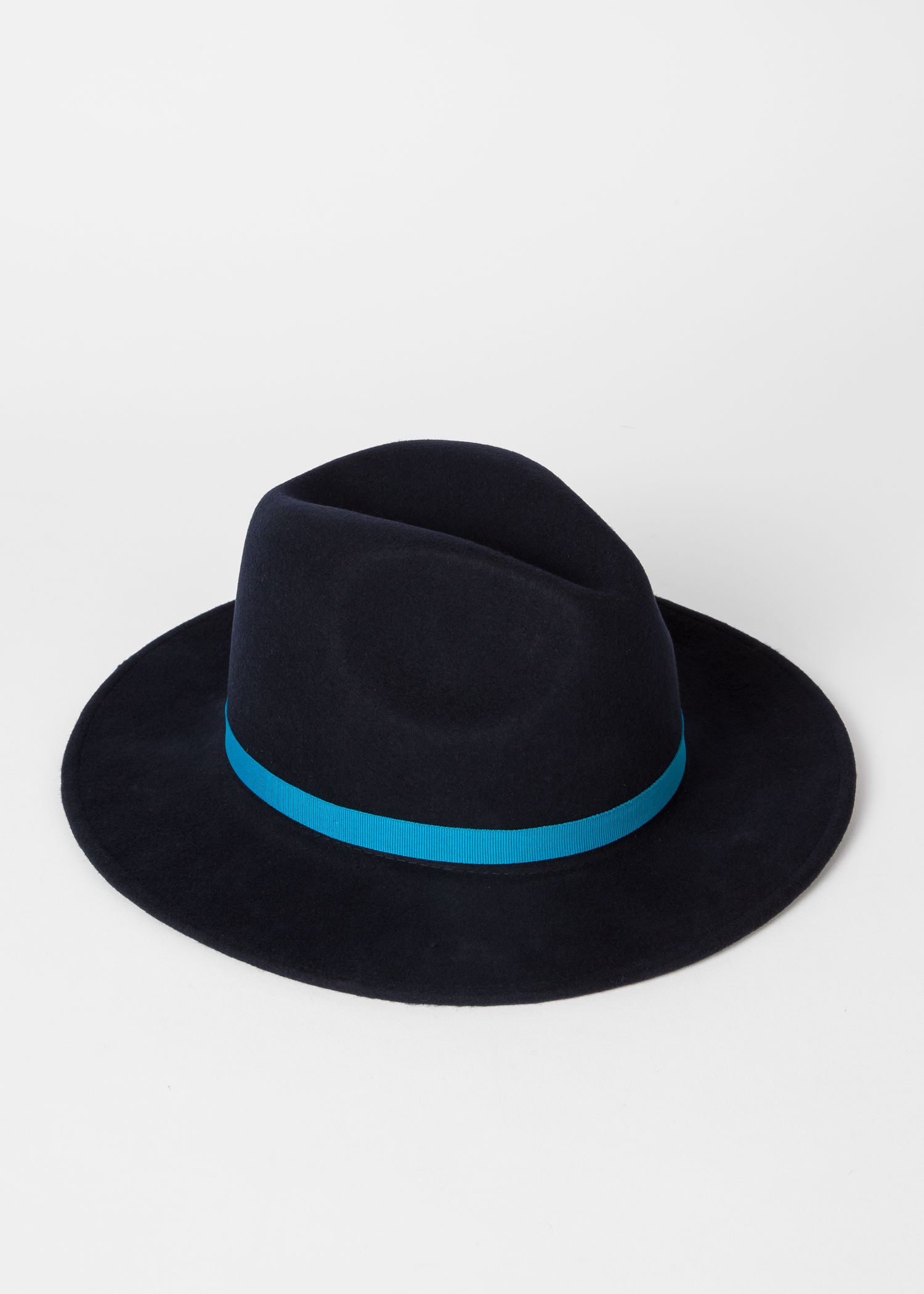 996b6a04 Angled View - Women's Navy Wool Felt Fedora Hat With Blue Headband Paul  Smith