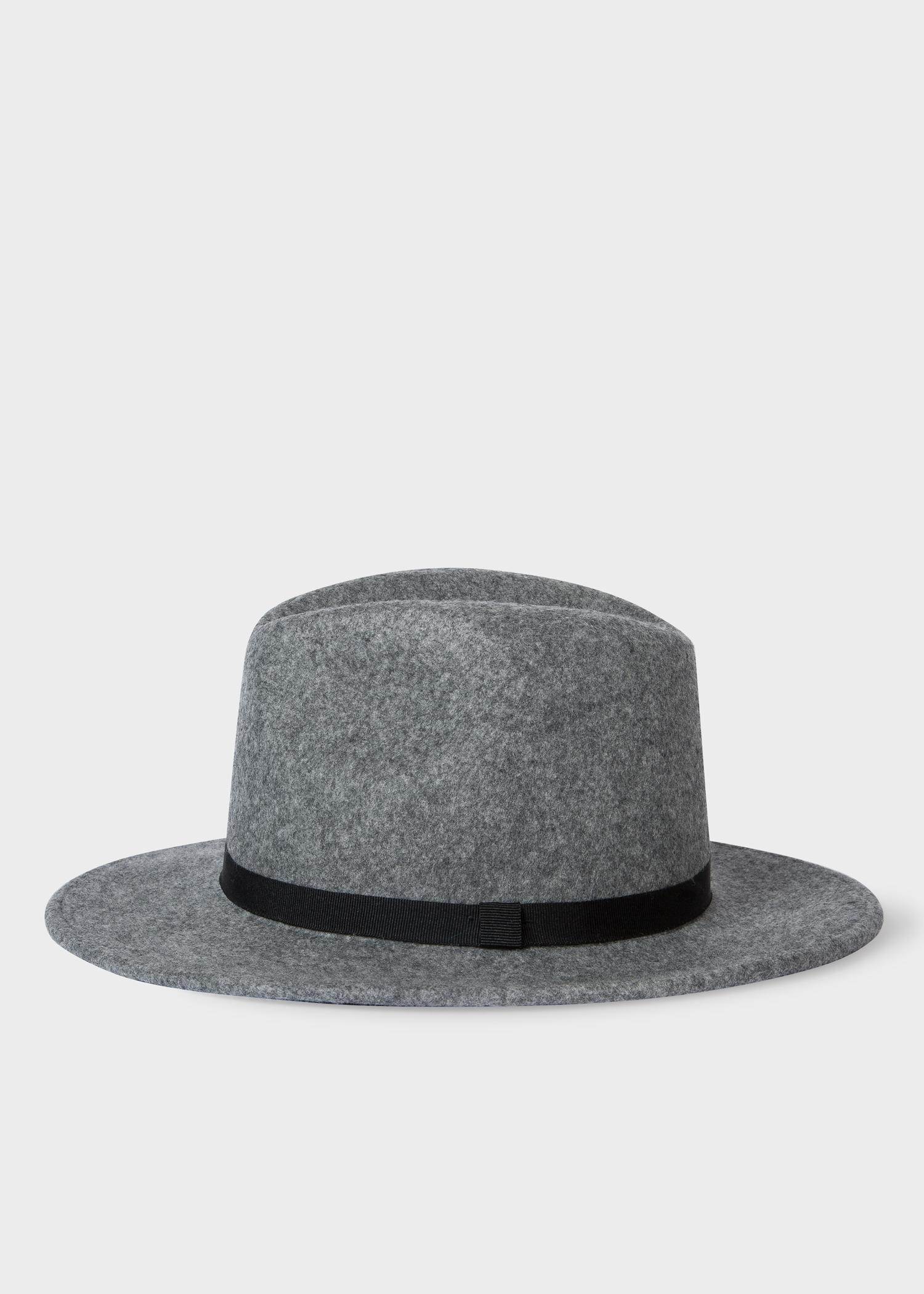 8d17ba1e4ec26b Side View - Women's Grey Wool Felt Fedora Hat With Black Headband Paul Smith