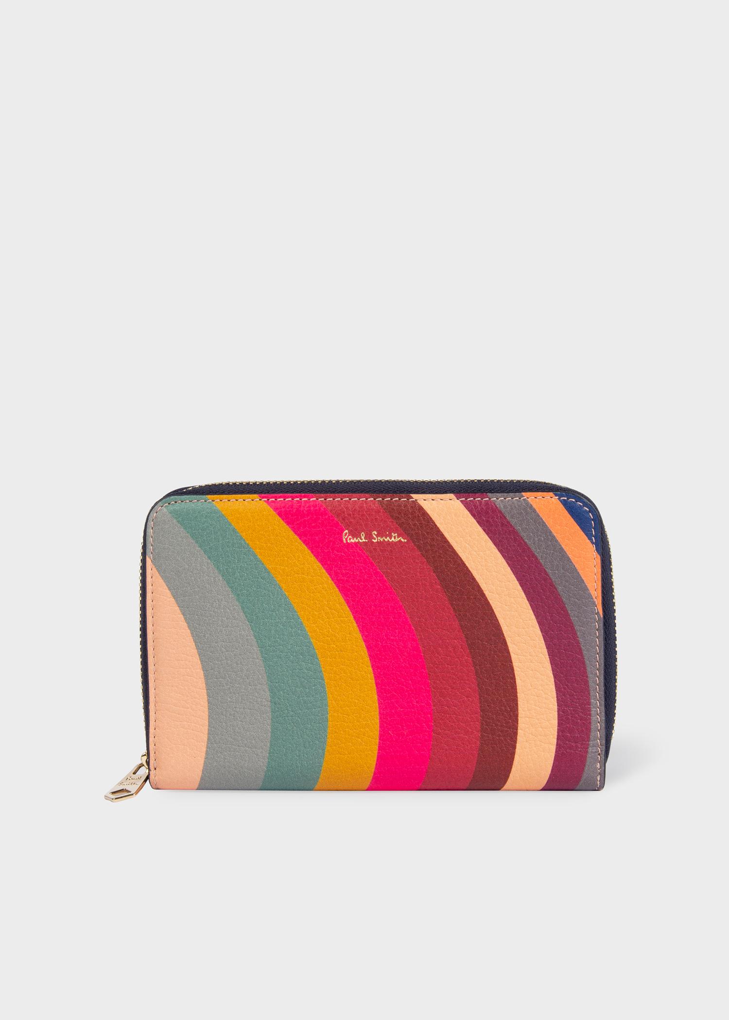 7149e1e84439 Women s Medium  Swirl  Print Leather Zip-Around Purse - Paul Smith US