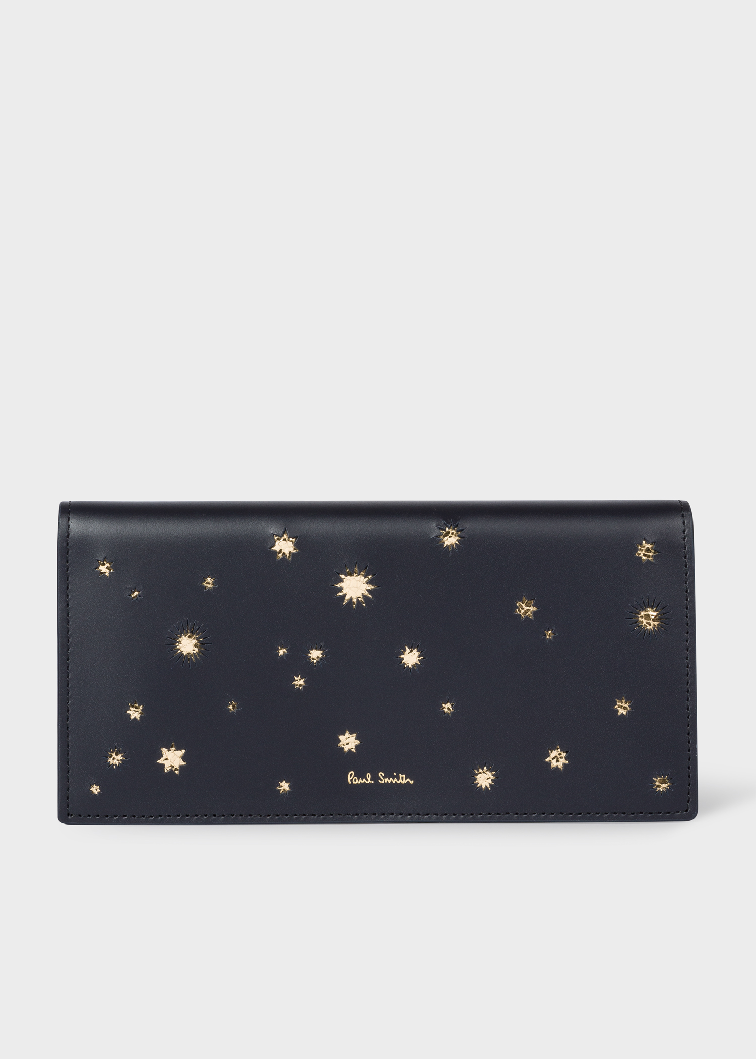 women s navy gold star leather tri fold wallet paul smith us