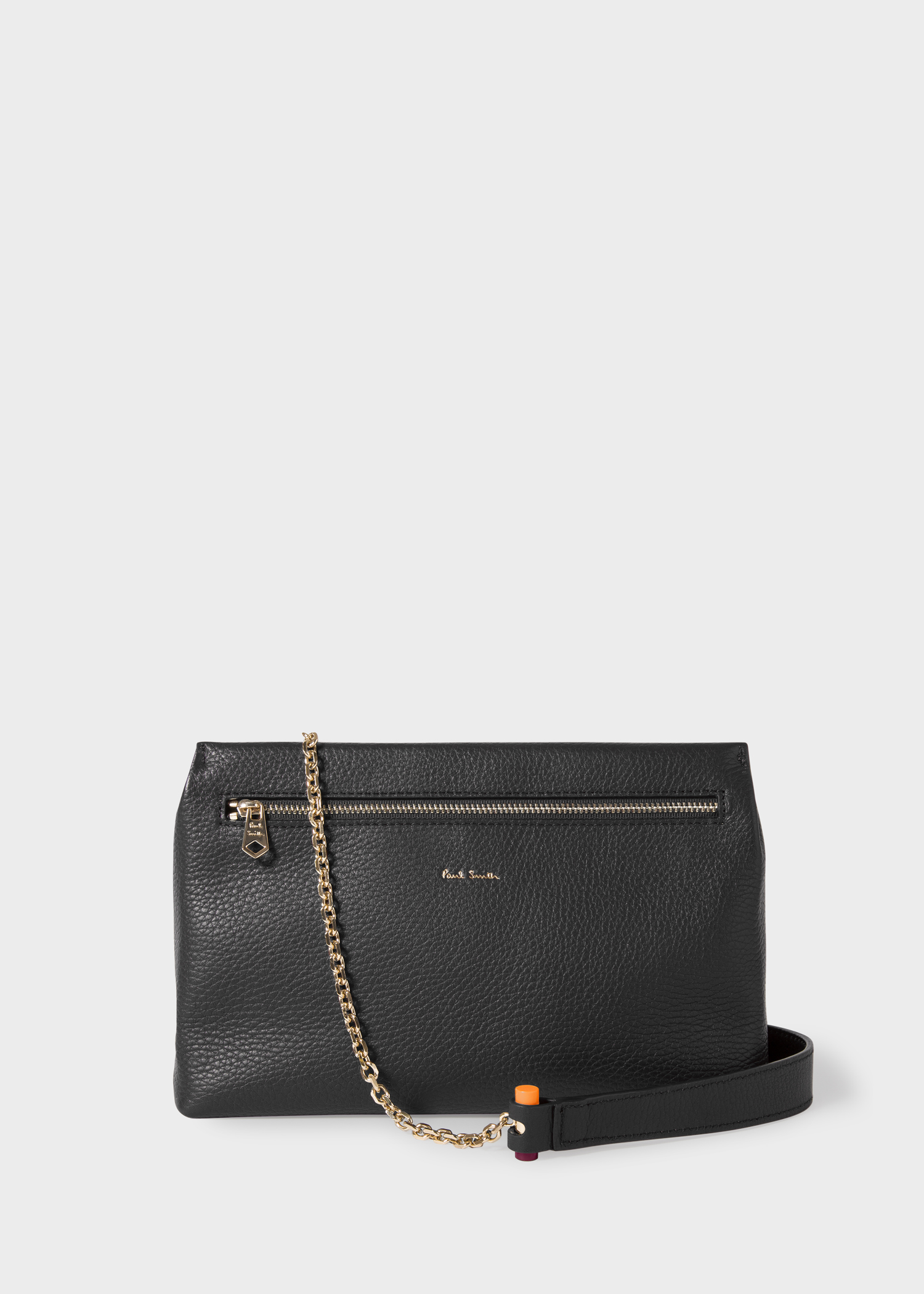 6600a030dc5 Women's Black Leather Pouch With Gold Chain