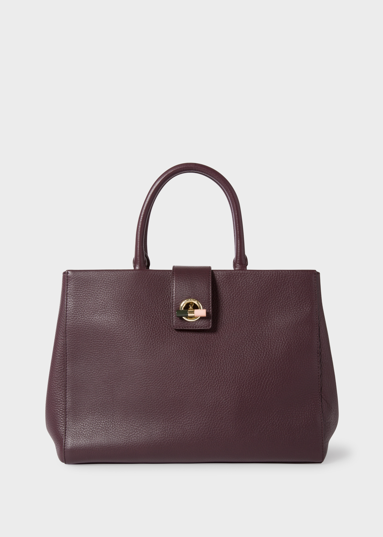 Women S Burgundy T Bar Leather Tote Bag Paul Smith