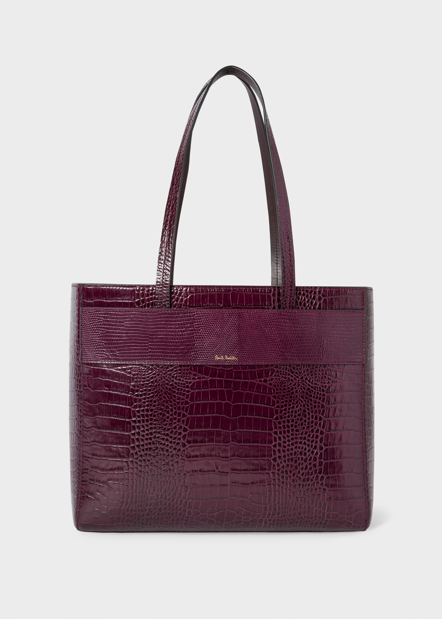 Women S Burgundy Mock Croc Small Leather Tote Bag Paul Smith