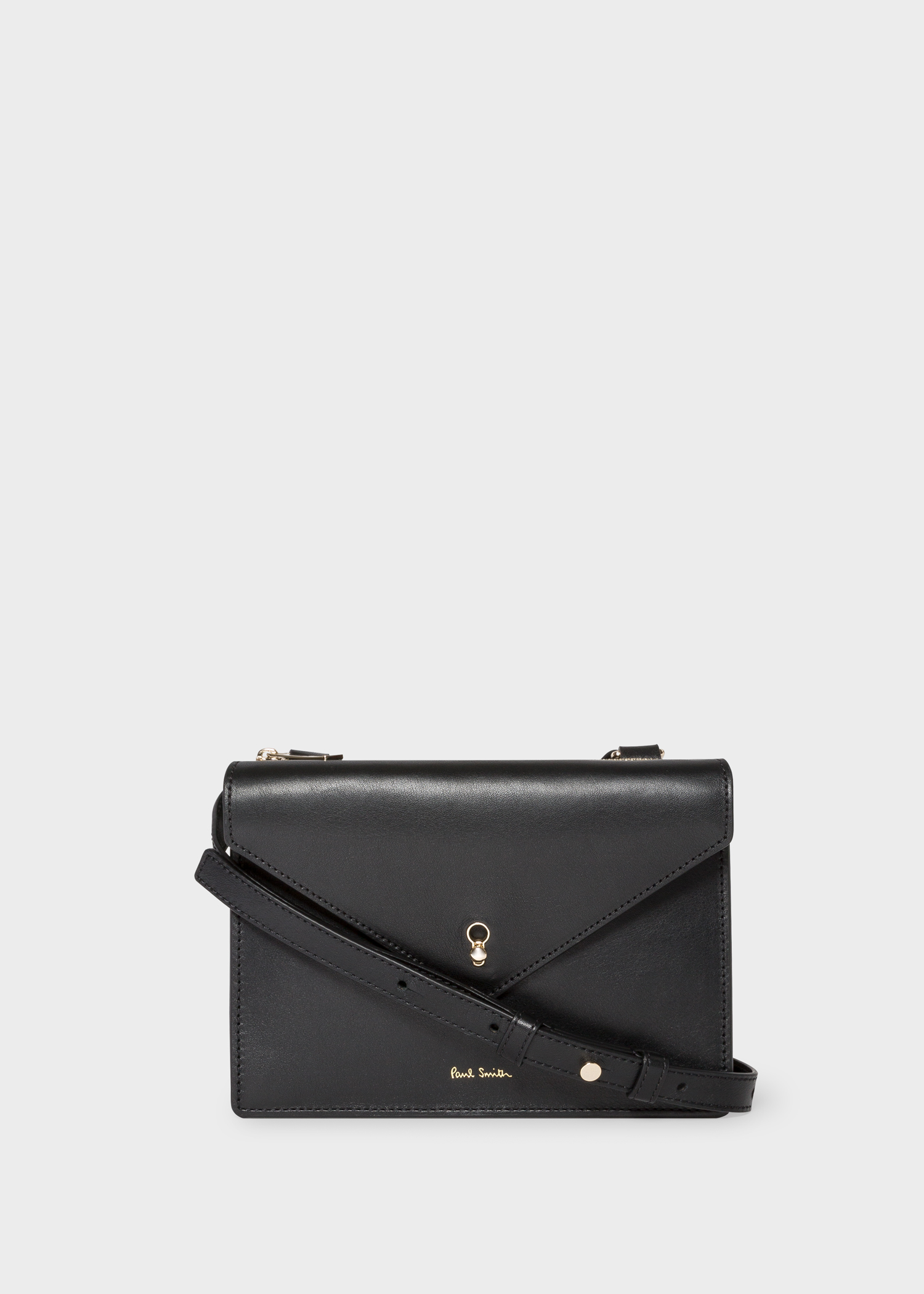 01a62f0b0ba5 Front View - Women s Black Leather Envelope Cross-Body Bag Paul Smith