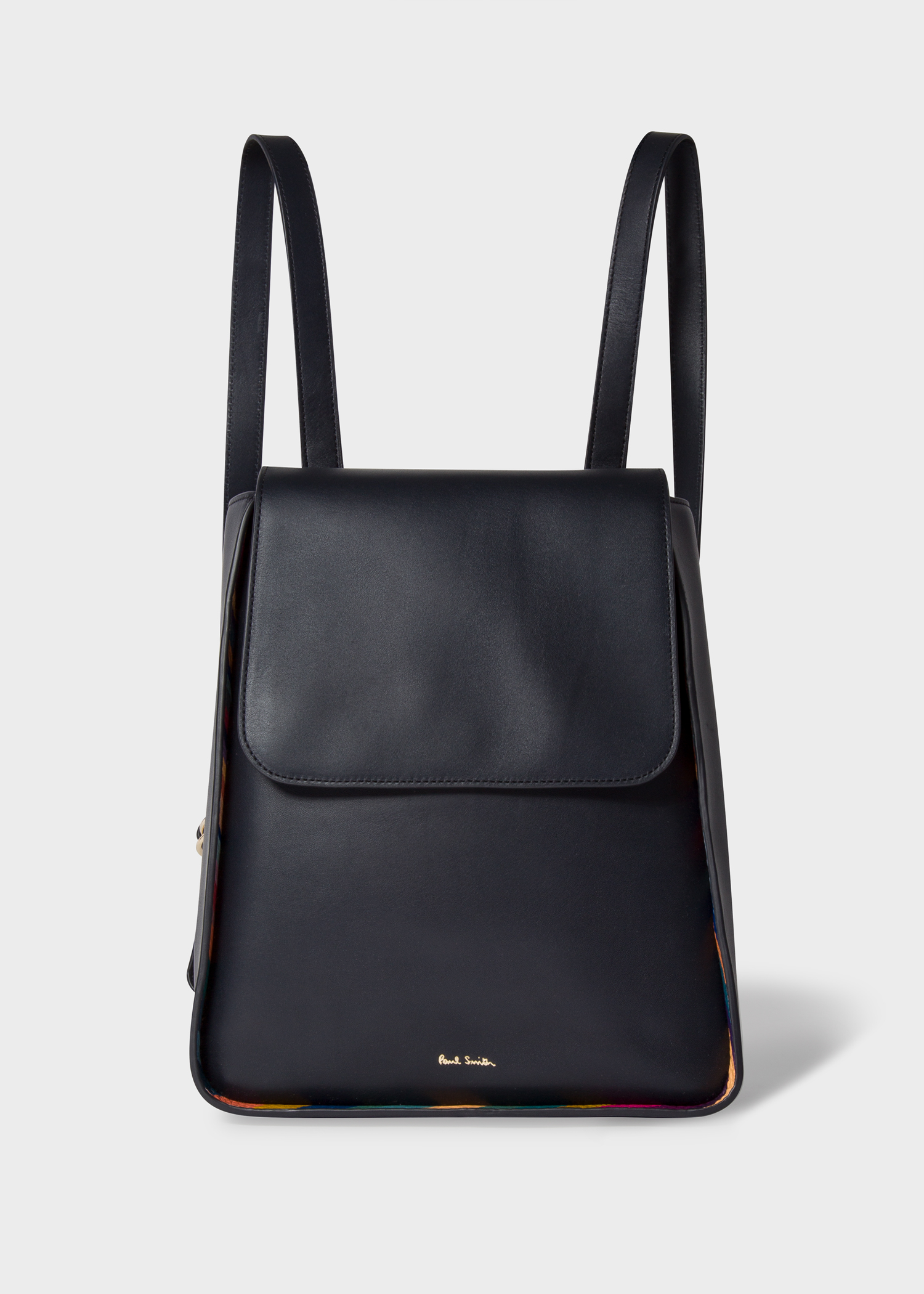 Front view - Women s Navy Leather Flap Backpack With  Swirl  Trims Paul  Smith 1d37f0d3a0