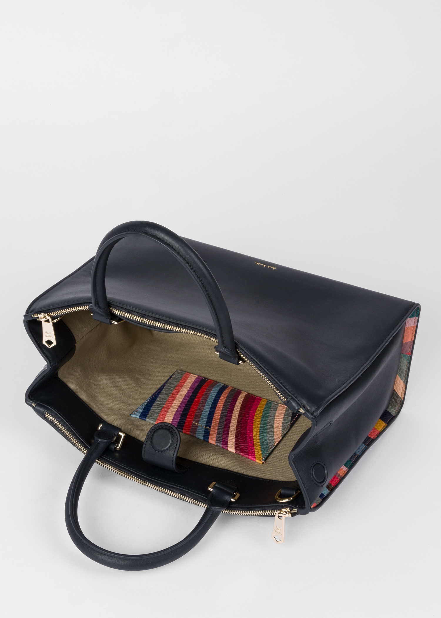 71225d20454c Internal View - Women s Navy  Swirl  Print Leather Tote Bag Paul Smith