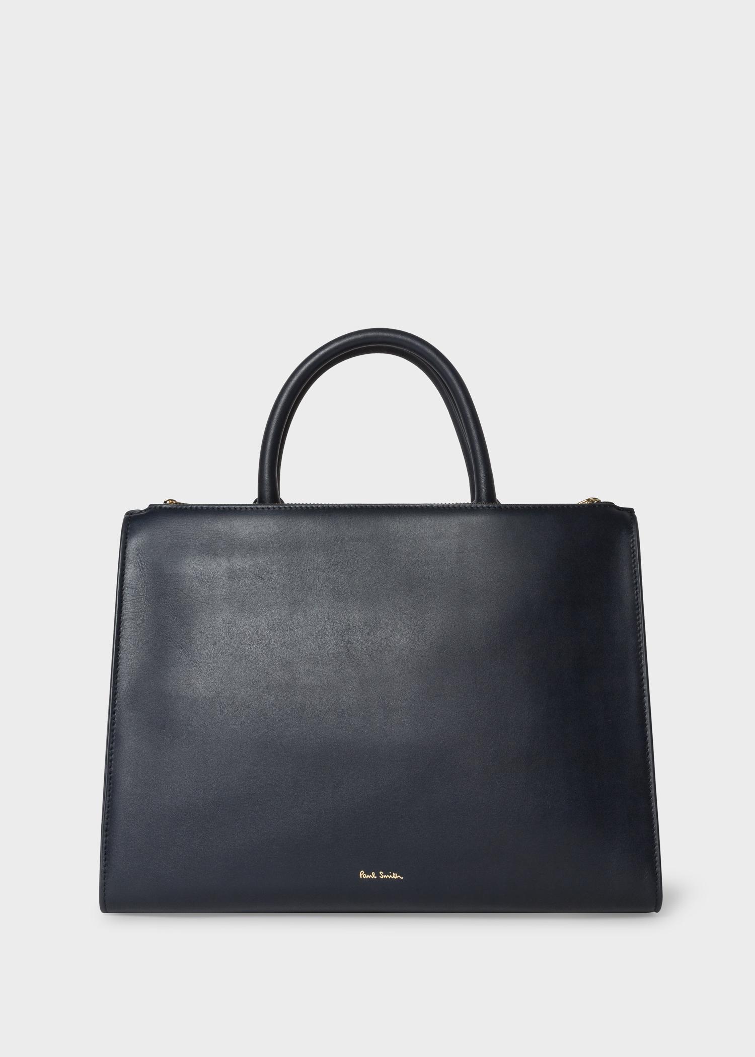 775b950cf14b Women s Navy Leather Double-Zip Tote Bag With  Swirl  Print Trim ...