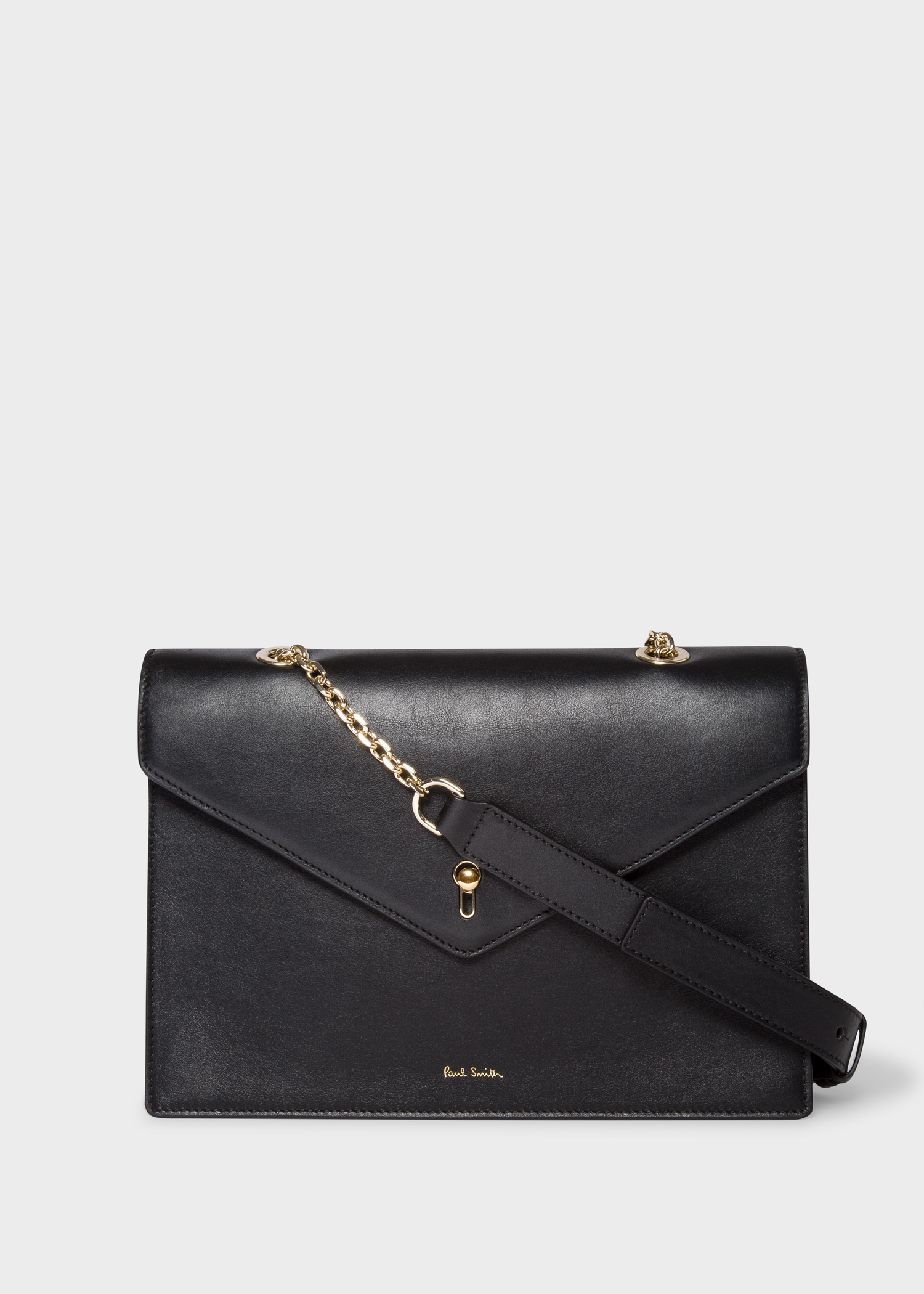 01e102916146 Front view - Women s Black Leather Envelope Shoulder Bag Paul Smith