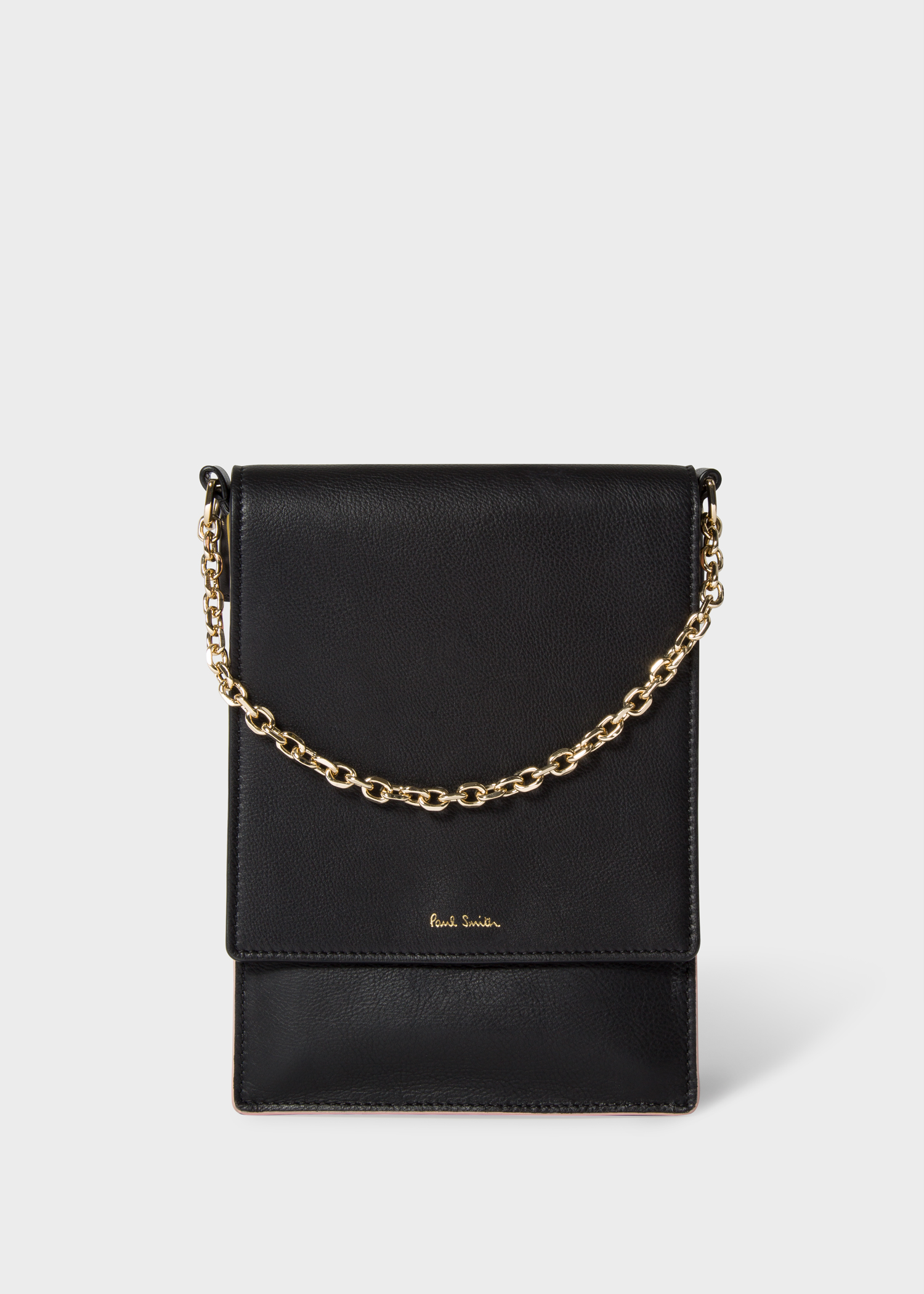 4707aa17b Front view - Women's Black Concertina Flap Cross-Body Leather Bag Paul Smith