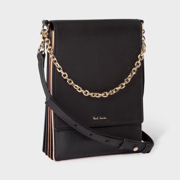 Women's Black Concertina Flap Cross-Body Leather Bag