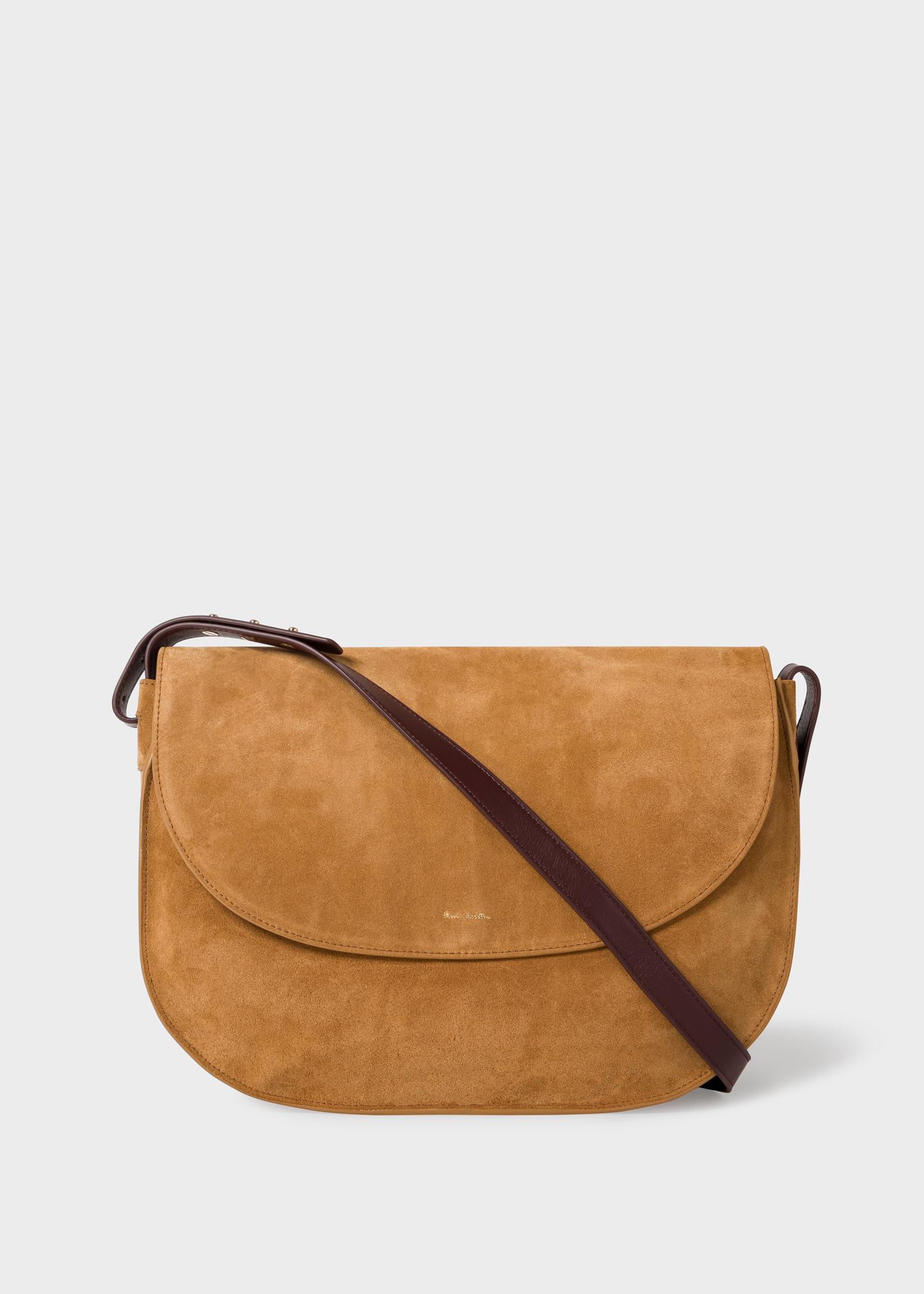 fdac5e82 Front View - Women's Tan Suede Leather Satchel Bag Paul Smith