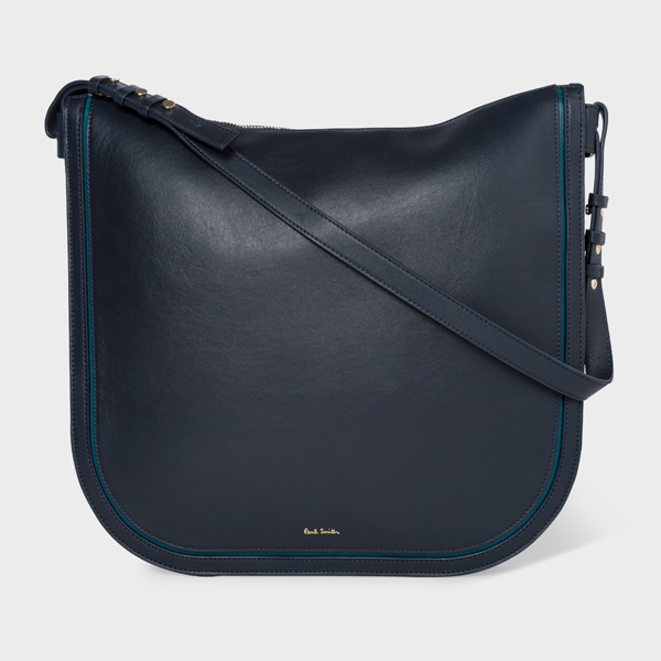 Women's Navy 'Concertina' Leather Hobo Bag