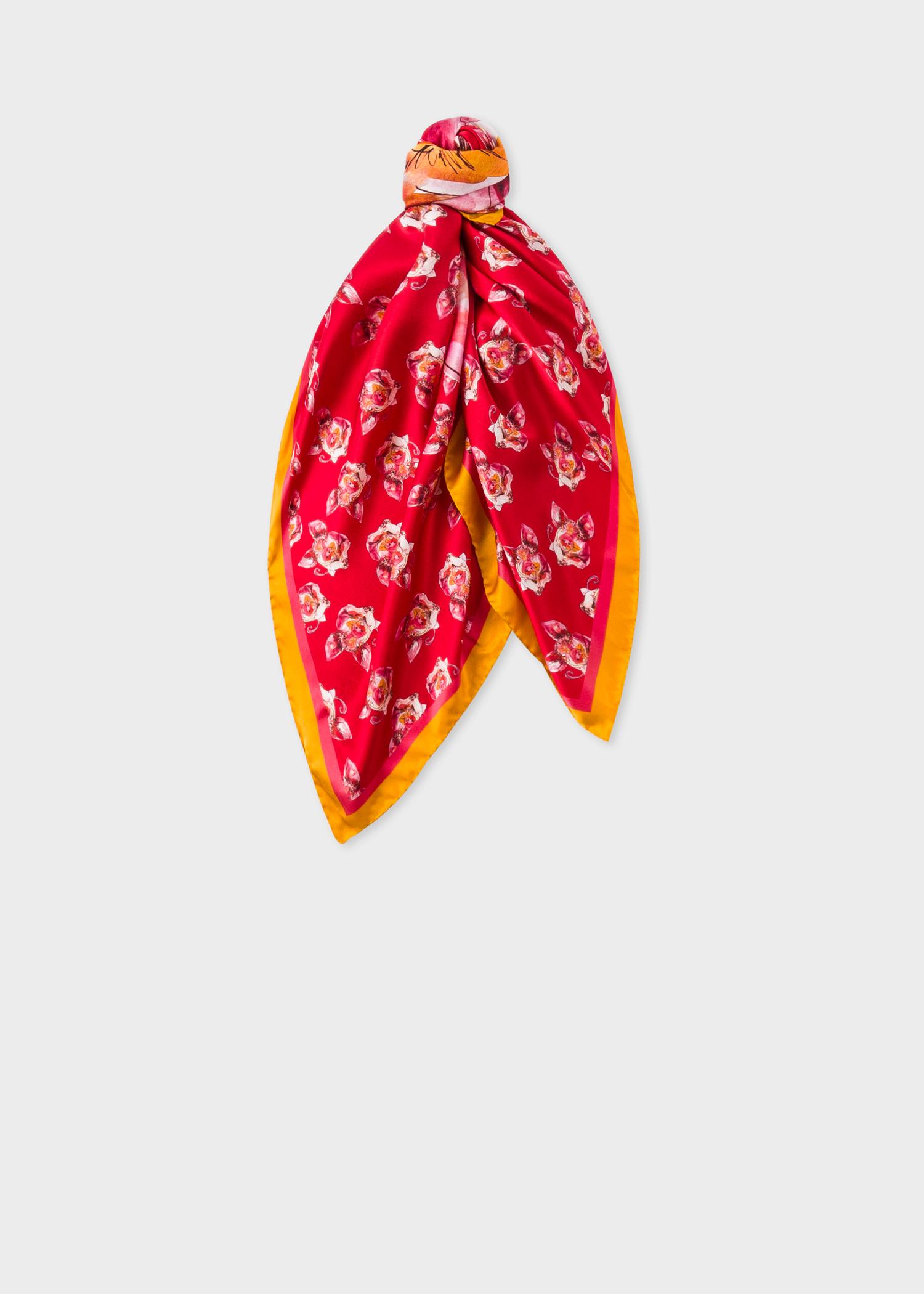 Vue foulard noué - Foulard Carré Femme Rouge  Pig  Nouvel An Chinois En Soie 8c8c759b3ad