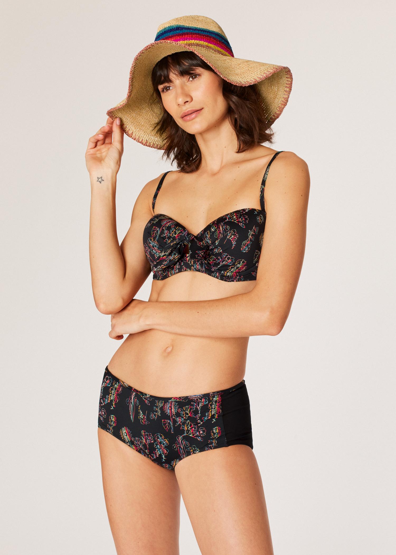 bec46ab5dd0 Model front close up - Women's 'Floral Swirl' Print Bandeau Bikini Top ...