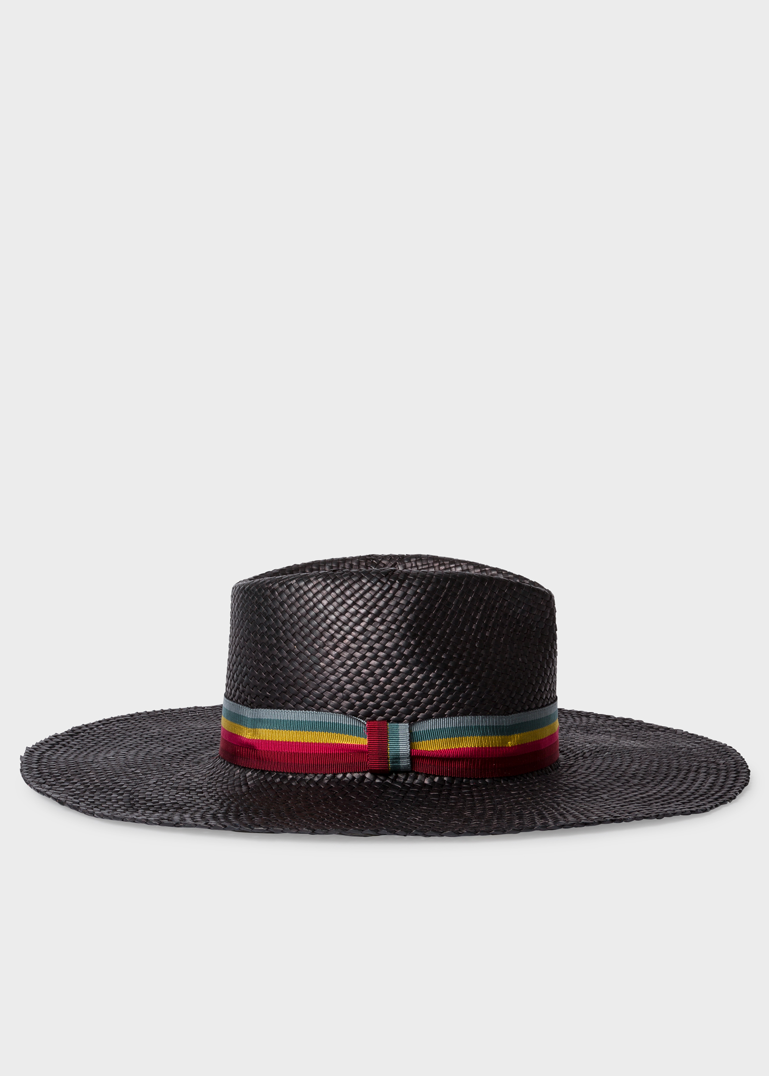 2816efe749755 Side view - Women s Black Woven Fedora Hat With  Swirl-Stripe  Band Paul