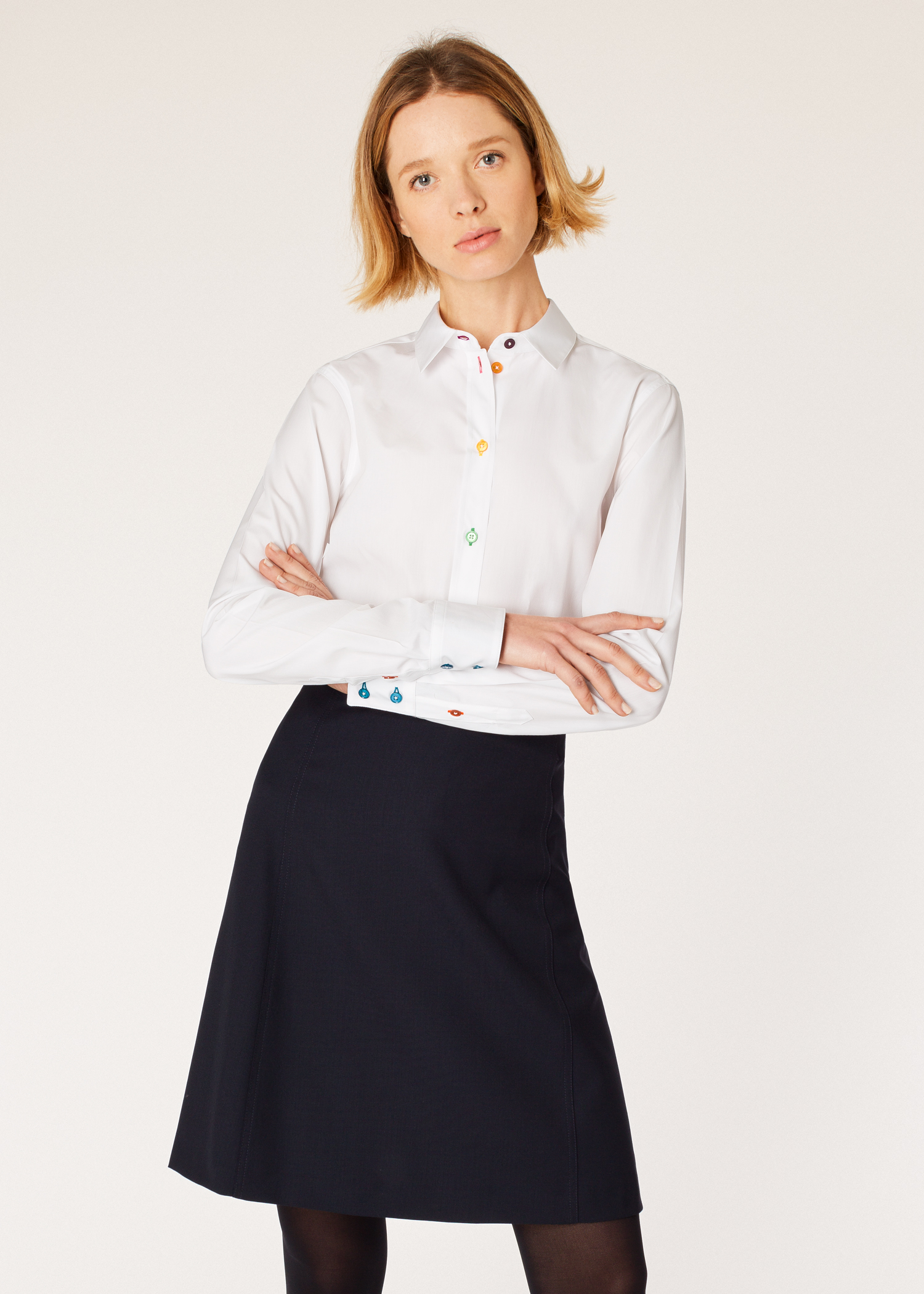 Women s Slim-Fit White Cotton Shirt With  Swirl  Cuff Lining - Paul ... 4c32f7fe7e