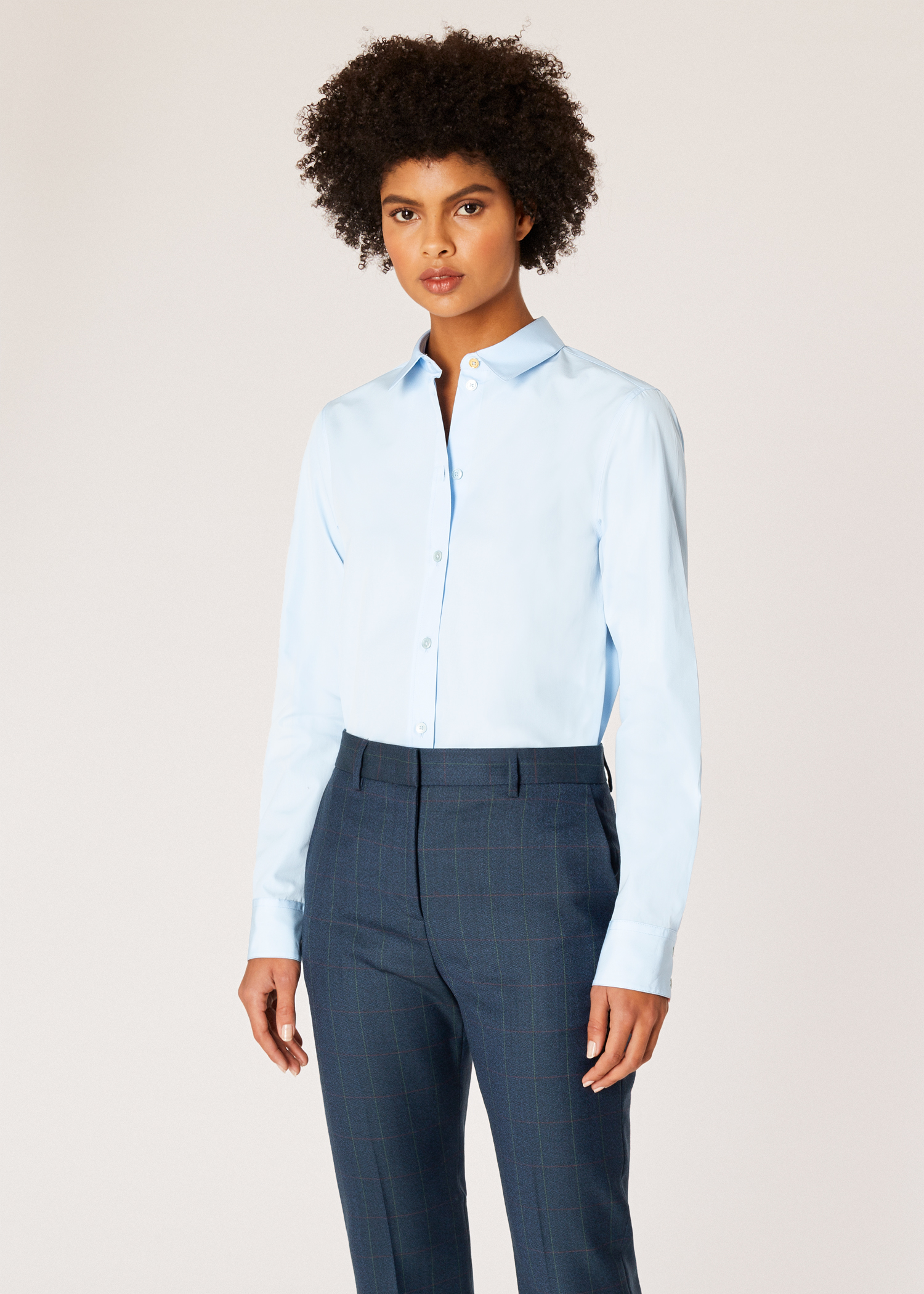 bec6e3f6c18f Model front close up- Women's Slim-Fit Light Blue Cotton Shirt With 'Artist