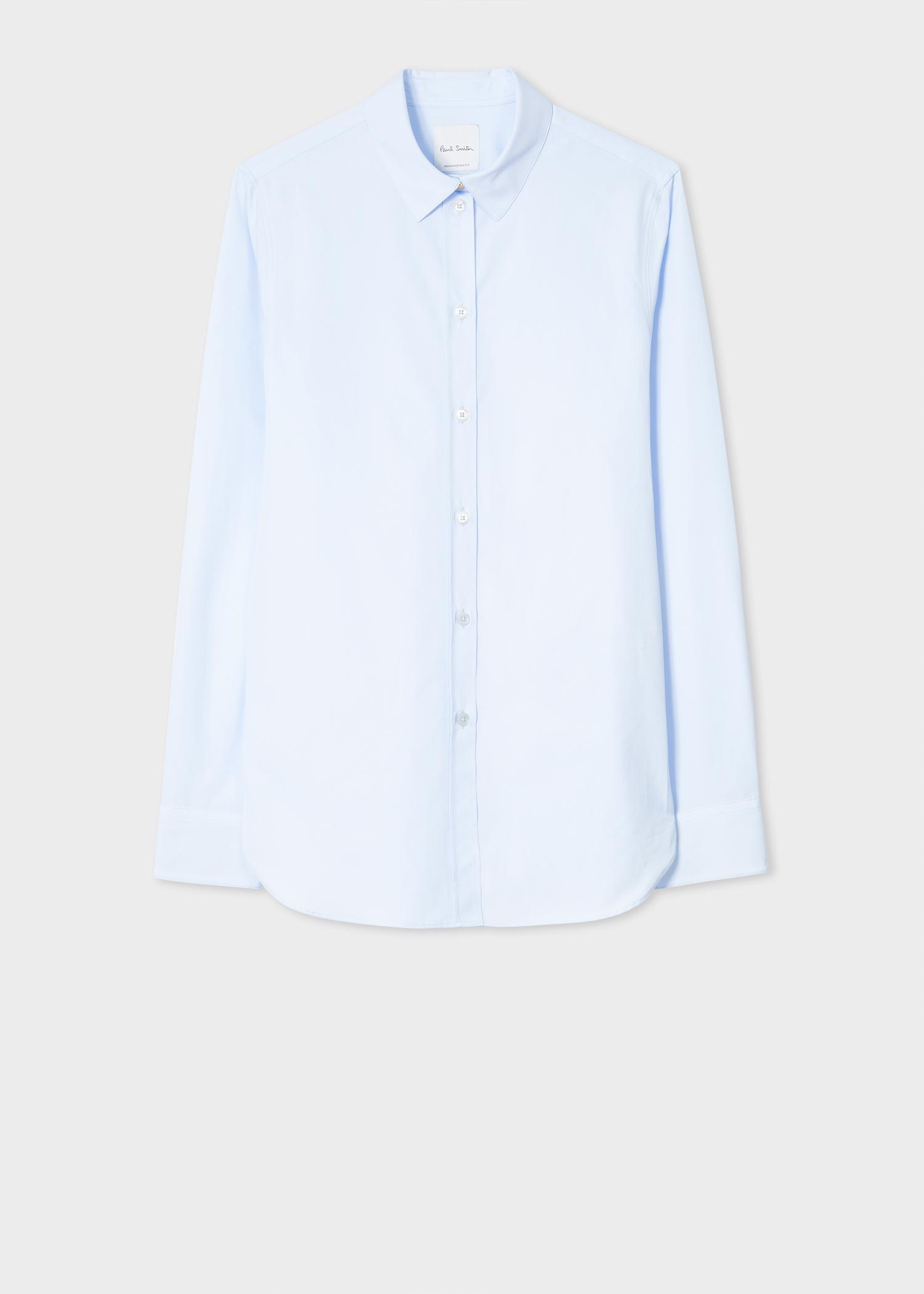 Fit raya vista para azul de Slim y claro con Camisa de artista frontal mujeres algodón n7XZqnU