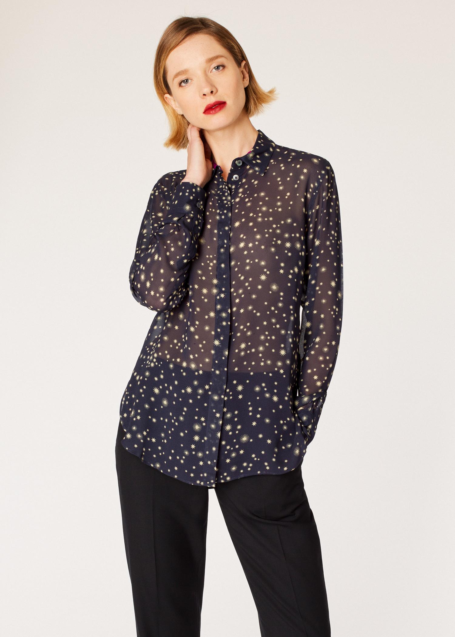 Womens Navy Gold Star Print Chiffon Shirt Paul Smith Us