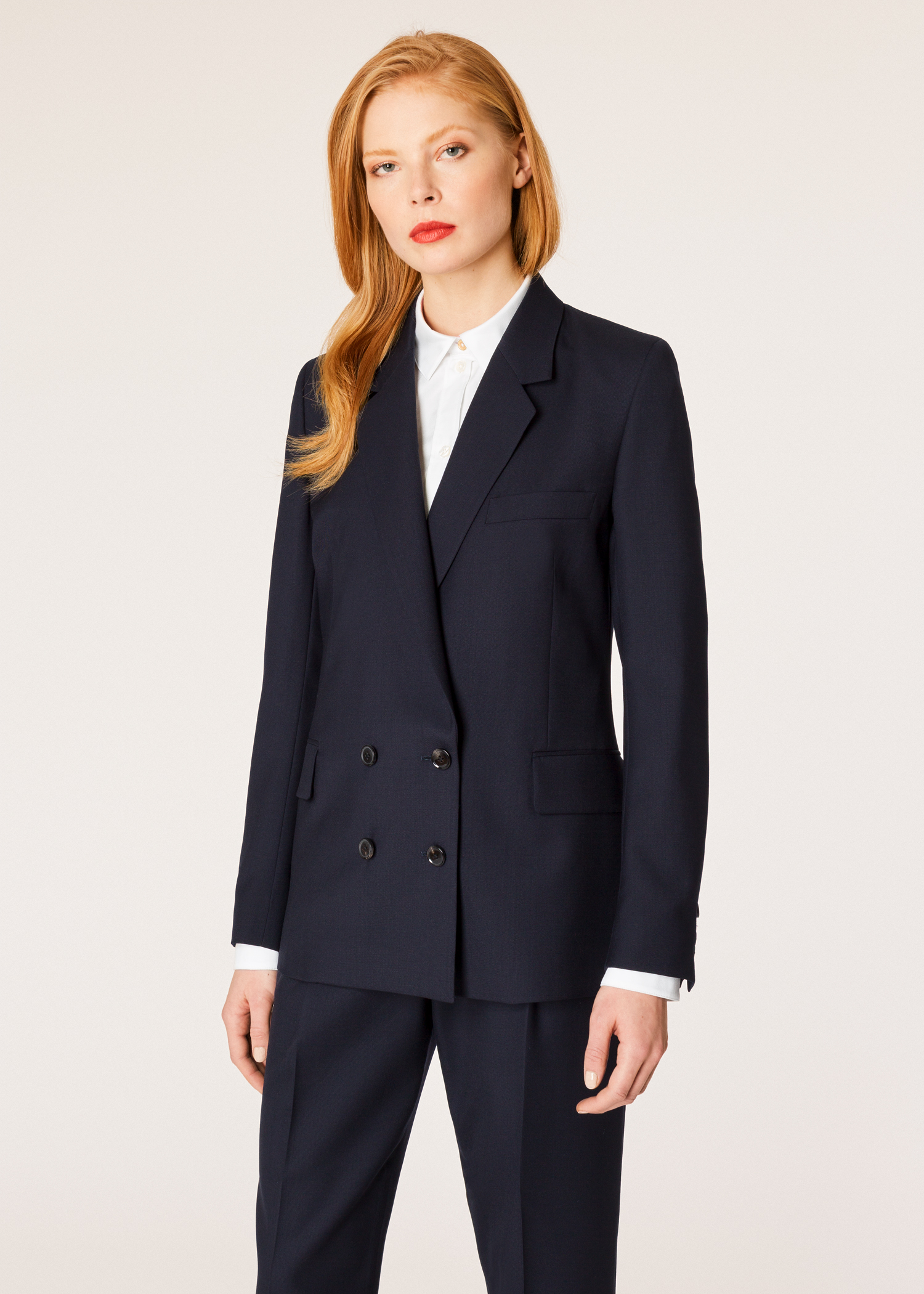 A Suit To Travel In Women S Dark Navy Wool Double Breasted Blazer