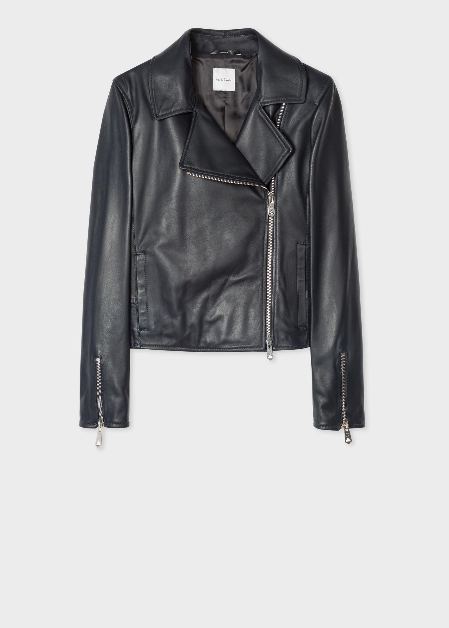 59be053b87e Front View - Women s Dark Navy Two-Way Zip Leather Biker Jacket Paul Smith