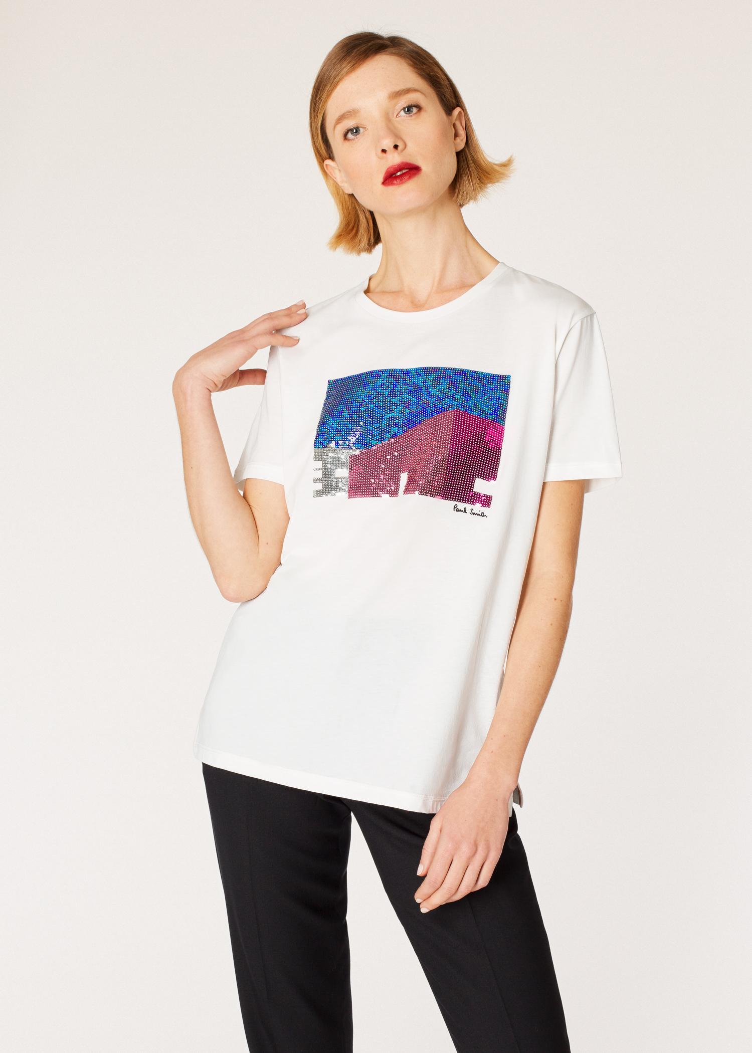 624a8d99 Model front close up - Women's White 'Los Angeles Shop' Sequin T-Shirt