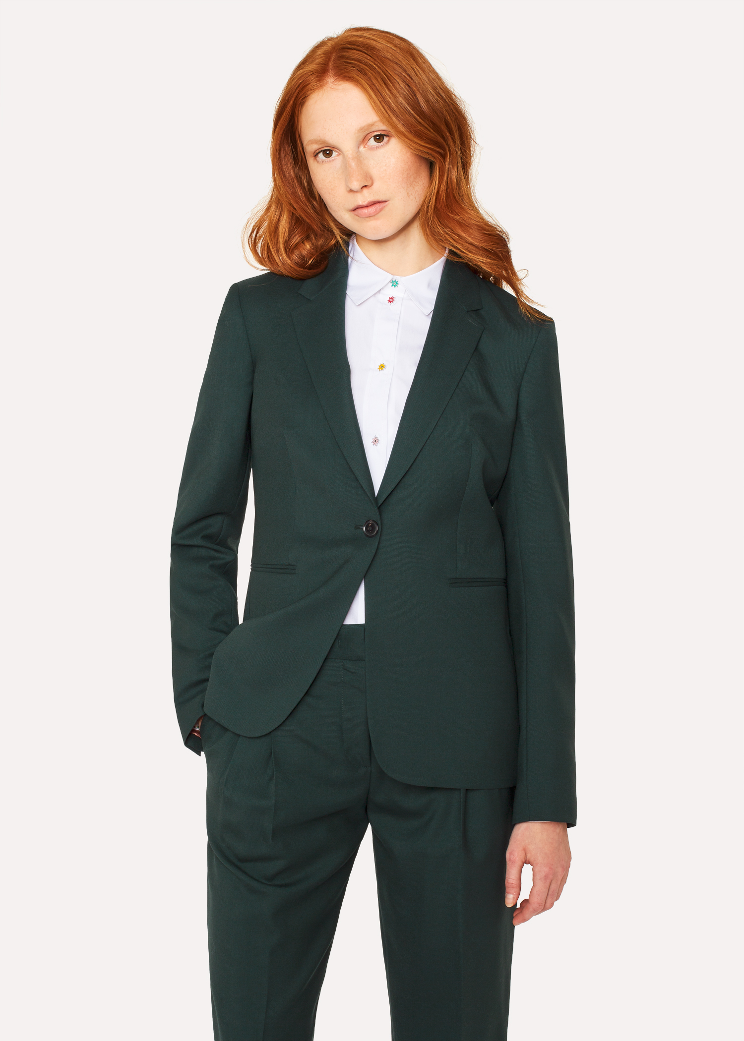 02e563c2b9c A Suit To Travel In - Women s Dark Green One-Button Wool Blazer Paul Smith