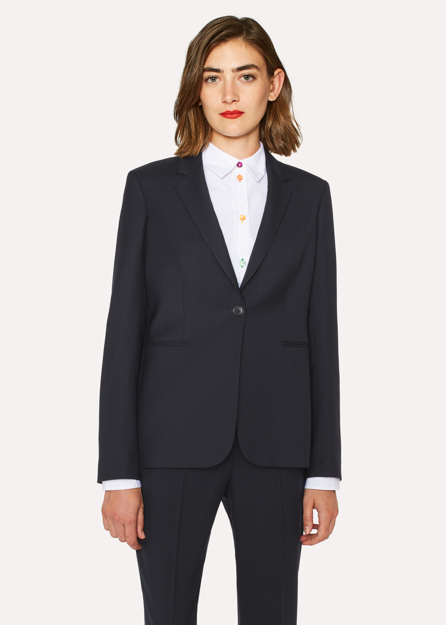 A Suit To Travel In Women S Navy One Button Wool Blazer Paul