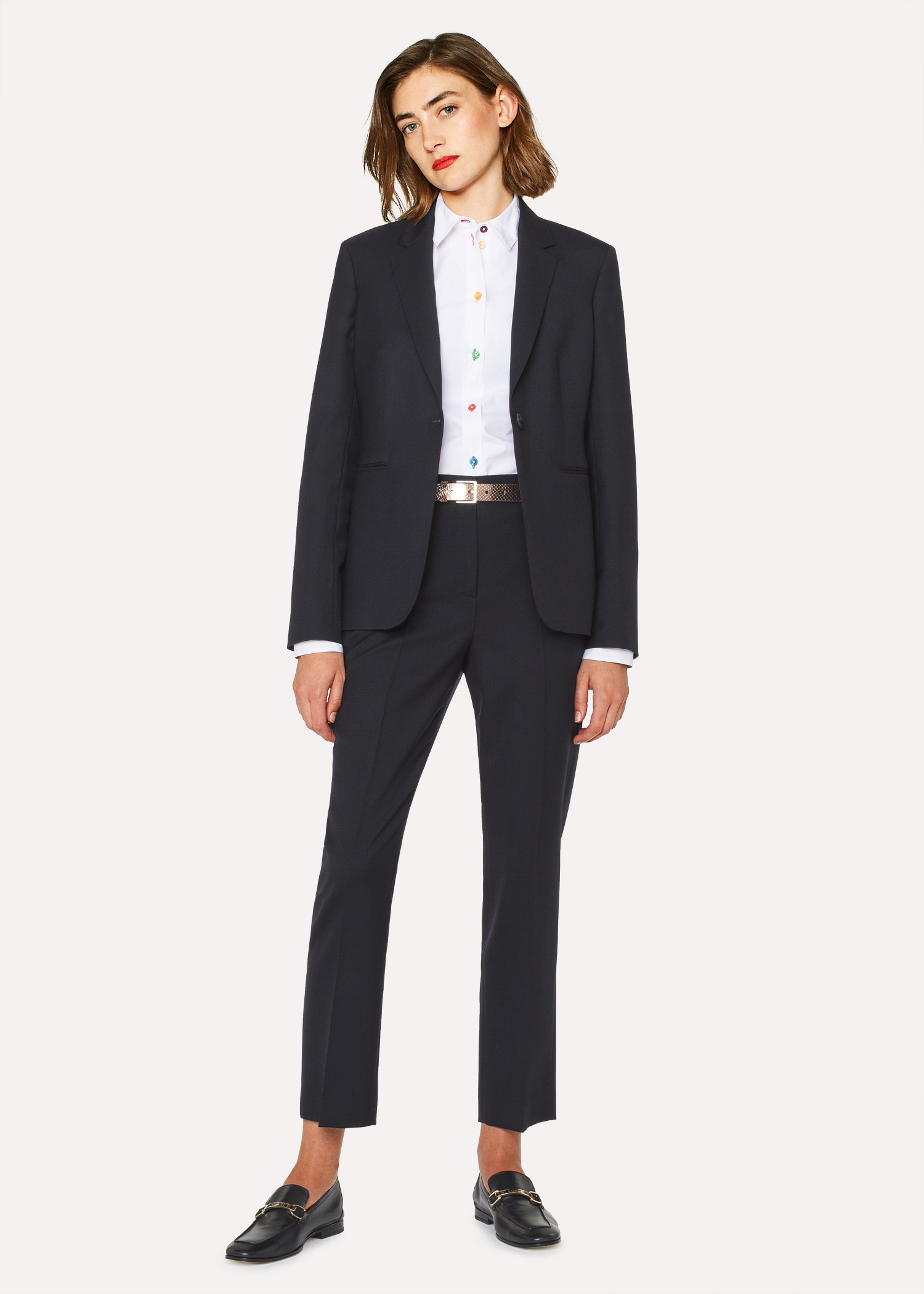 A Suit To Travel In - Women s Navy One-Button Wool Suit - Paul Smith ... 4d3197e75b