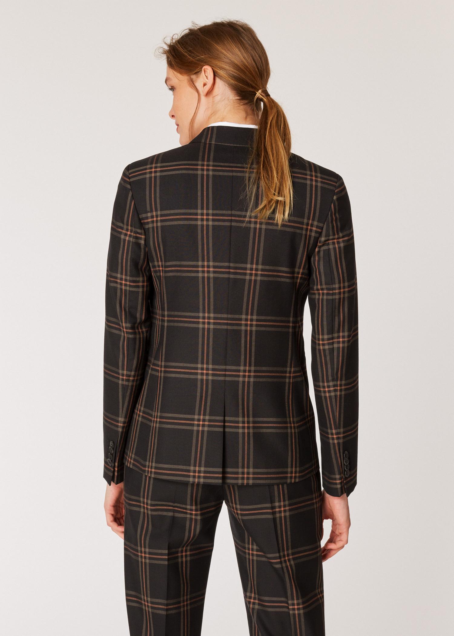 wholesale dealer 70d71 444a3 Vue mannequin dos zoom- Blazer Femme Noir À Carreaux En Laine Coupe Slim  Paul Smith