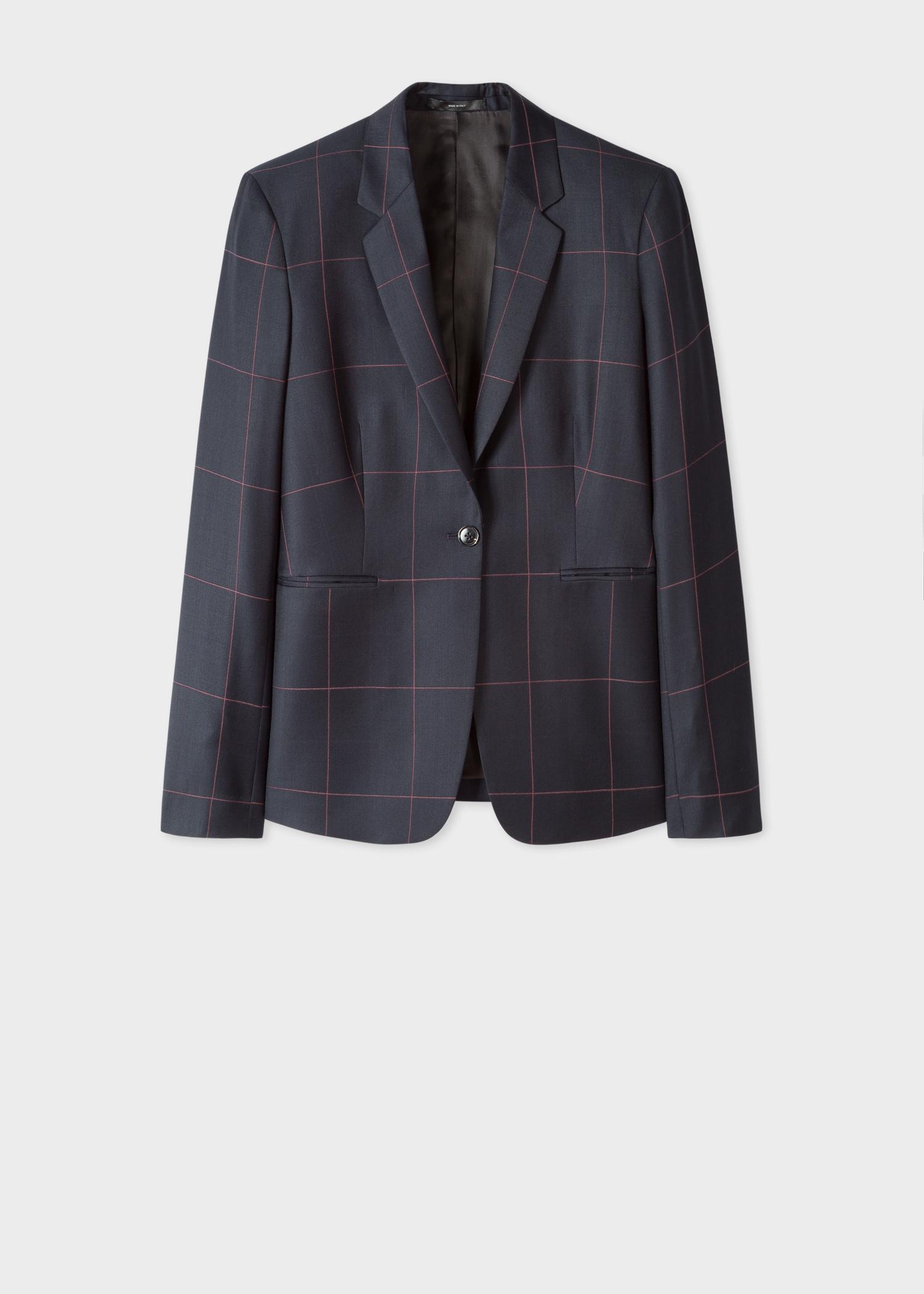 0fcc2ad84479 Front view - Women's Slim-Fit Dark Navy Windowpane Check Wool Blazer Paul  Smith