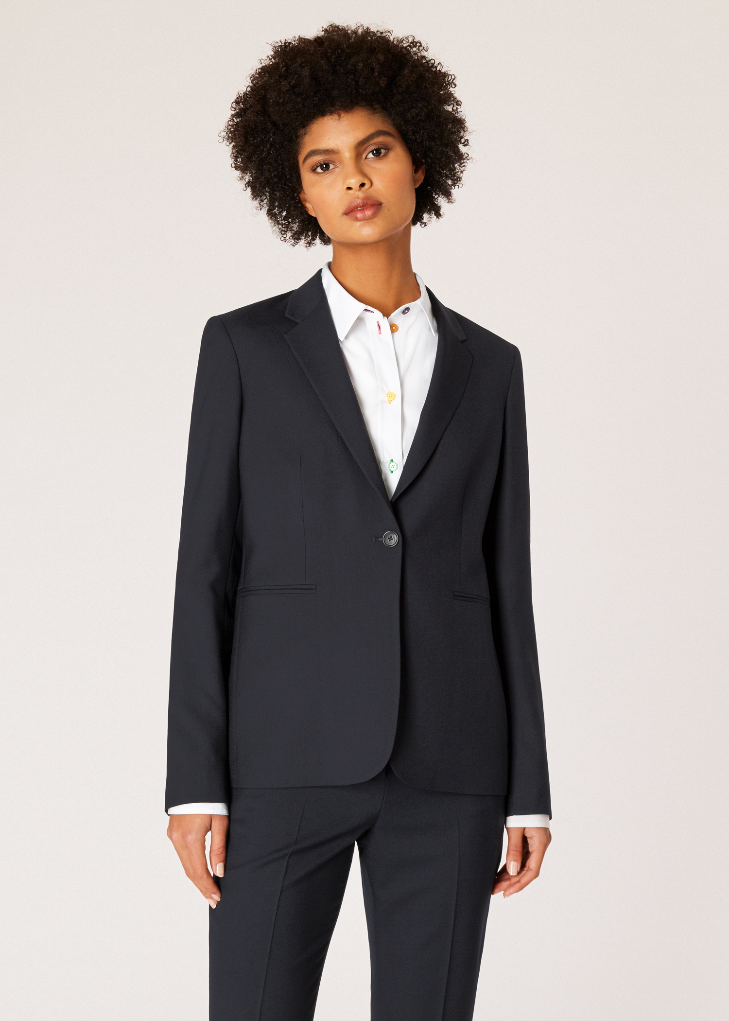 135e20dbaca A Suit To Travel In - Women's Navy One-Button Wool Blazer by Paul Smith