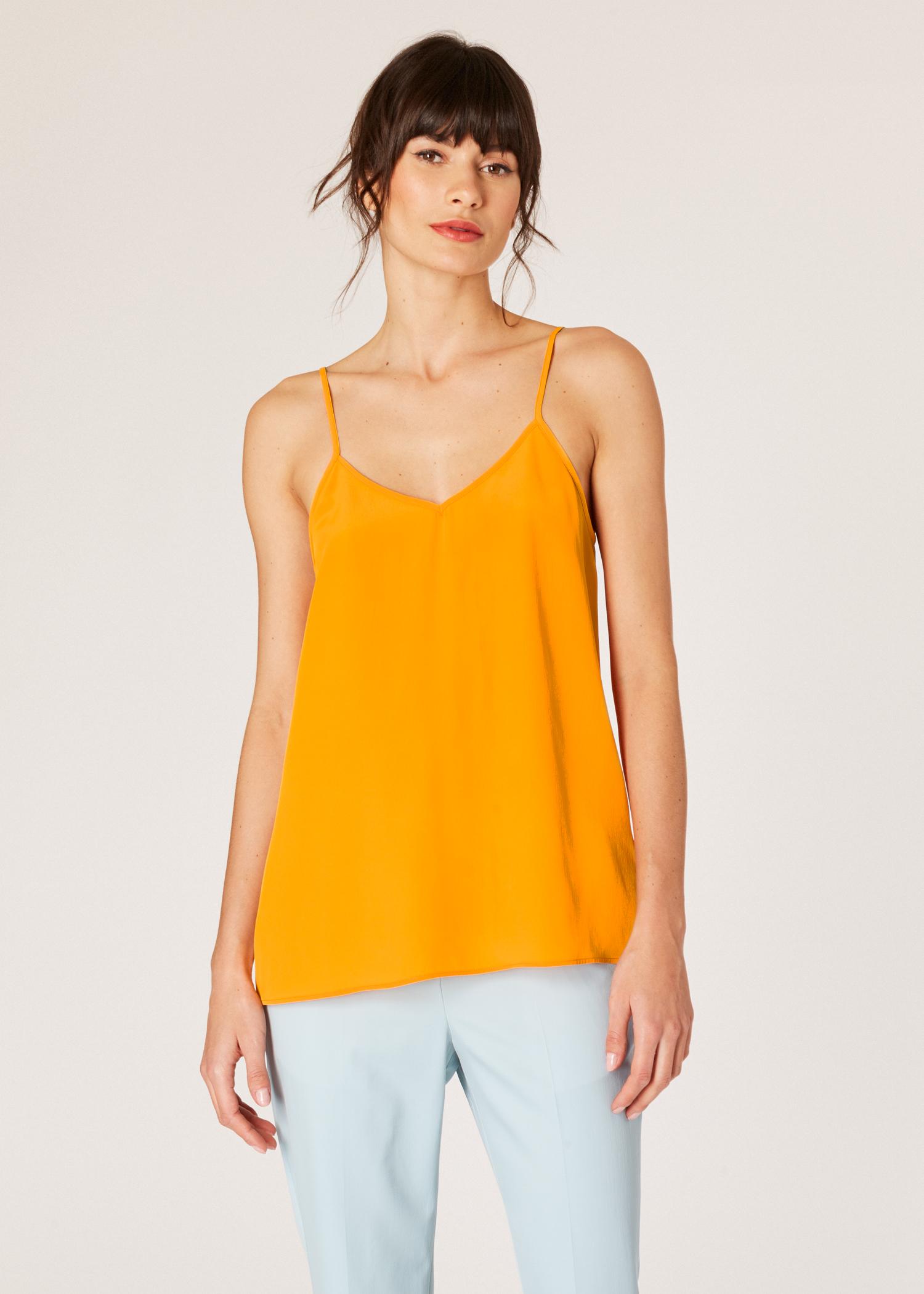 a6c9b65a9a33d Vue mannequin face zoom - Top Caraco Femme Orange En Soie Mélangée Paul  Smith