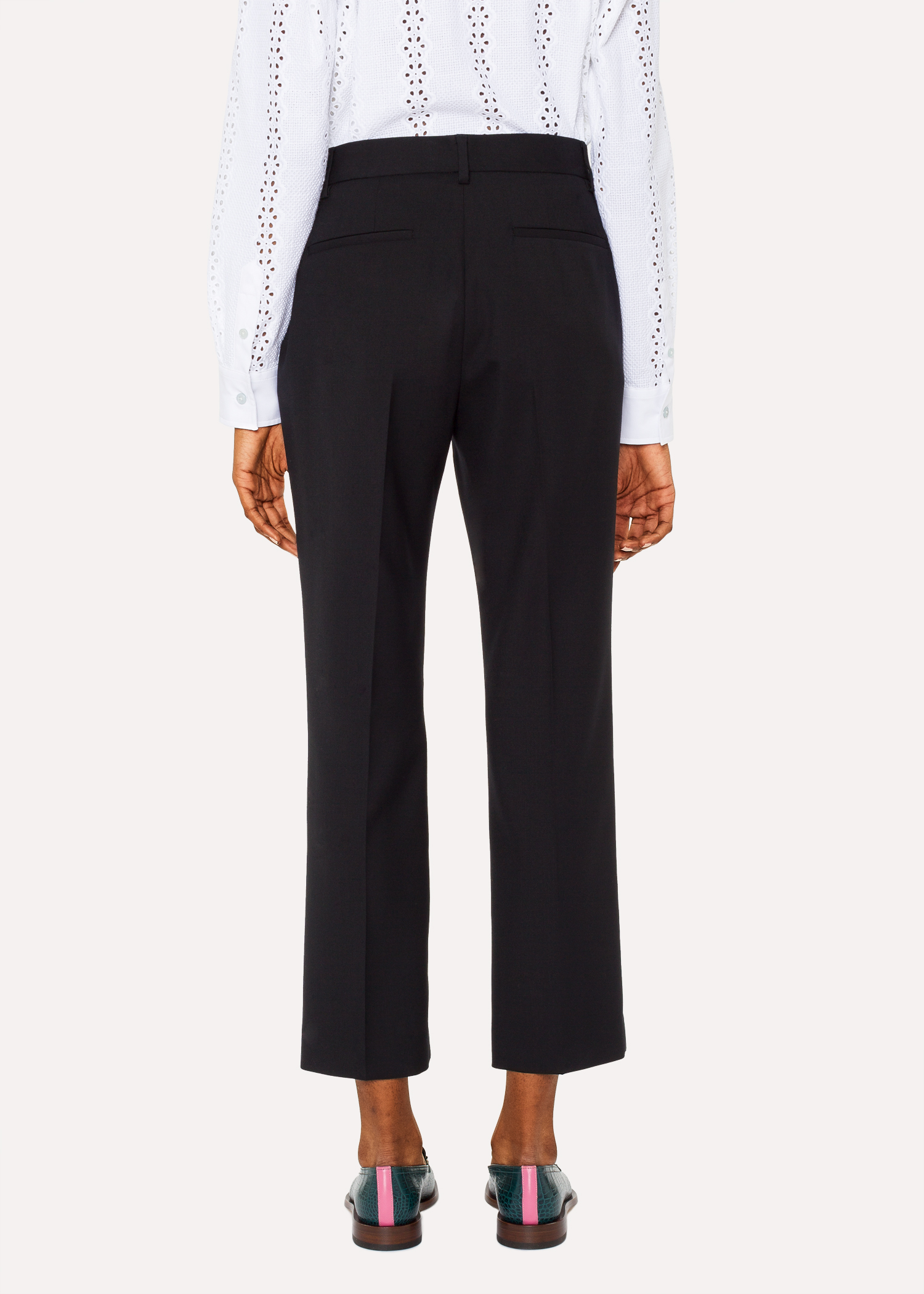 30056ca8fe7e A Suit To Travel In - Women s Black Slim-Fit Wool Pants - Paul Smith US