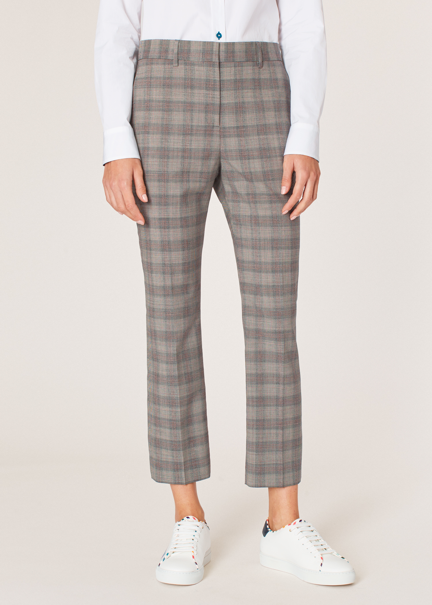 284fb02790 Model front close up - Women's Slim-Fit Grey And Orange Glen Plaid Wool  Trousers