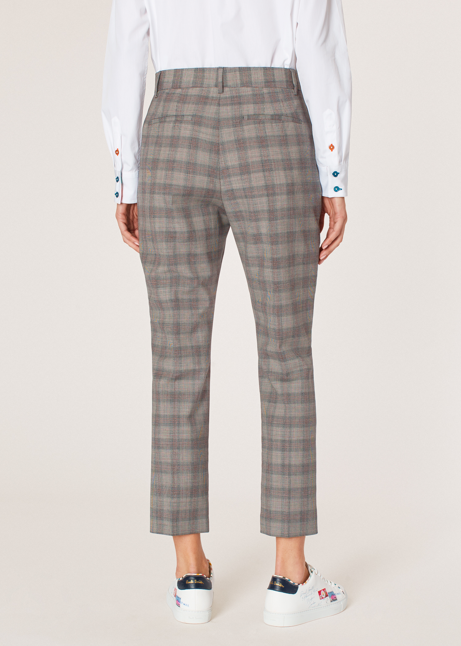 5ed81605b34 Model back close up - Women's Slim-Fit Grey And Orange Glen Plaid Wool  Trousers