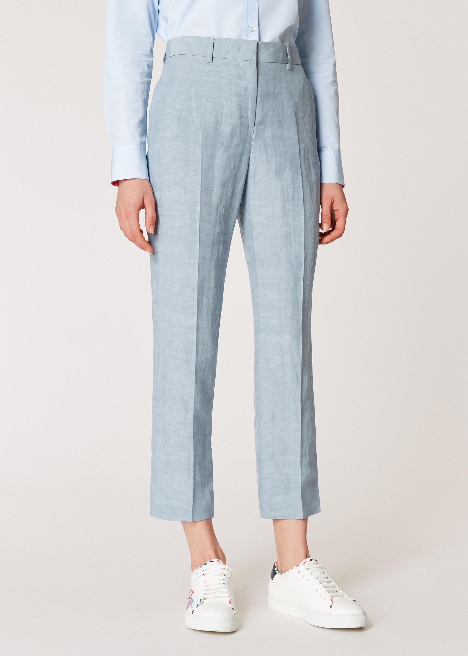 790088e42bb Model front close up - Women s Slim-Fit Pastel Blue Linen-Blend Trousers  Paul