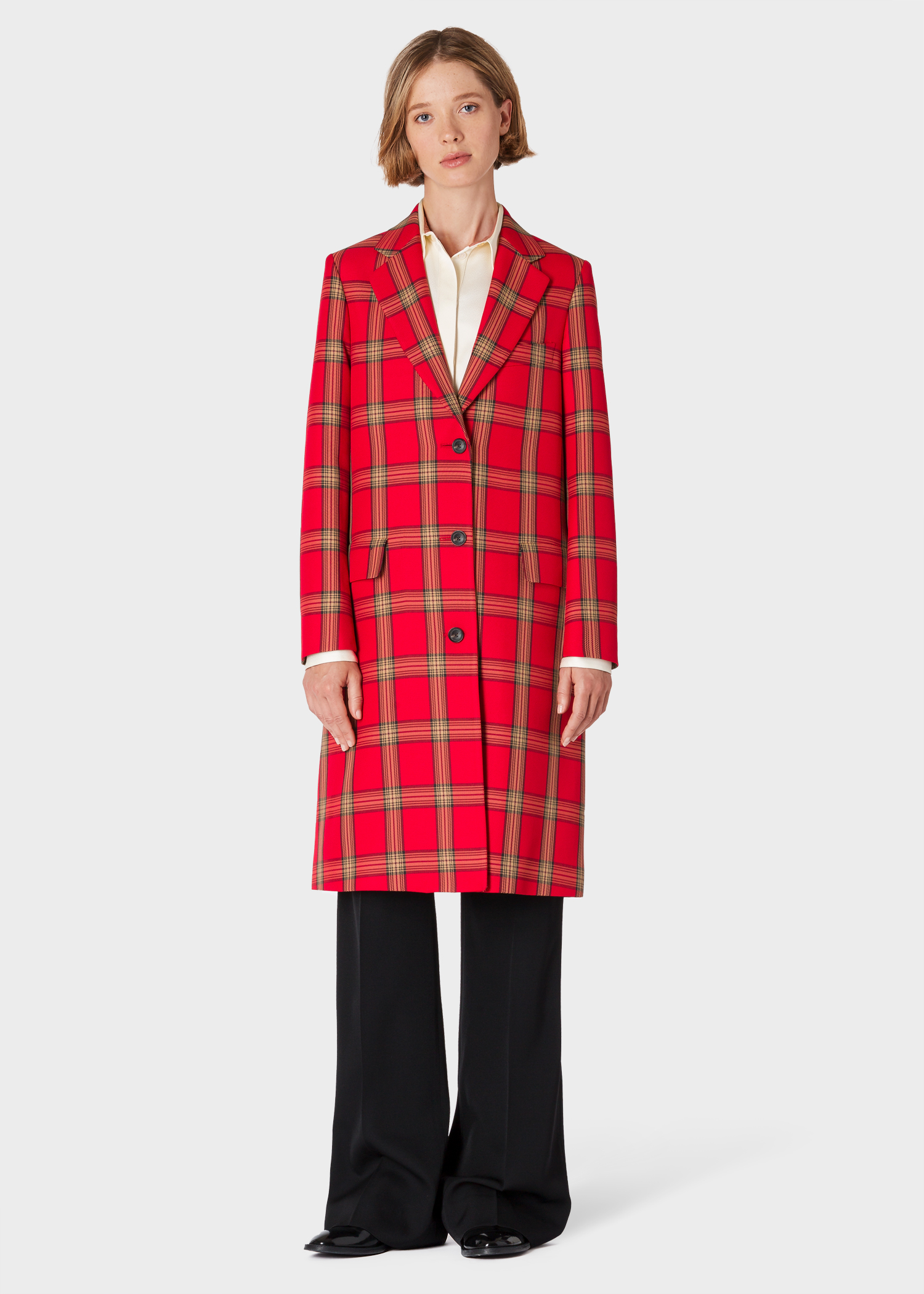 665d62af1cfa76 Model front view - Women's Red Tartan Check Epsom Coat Paul Smith